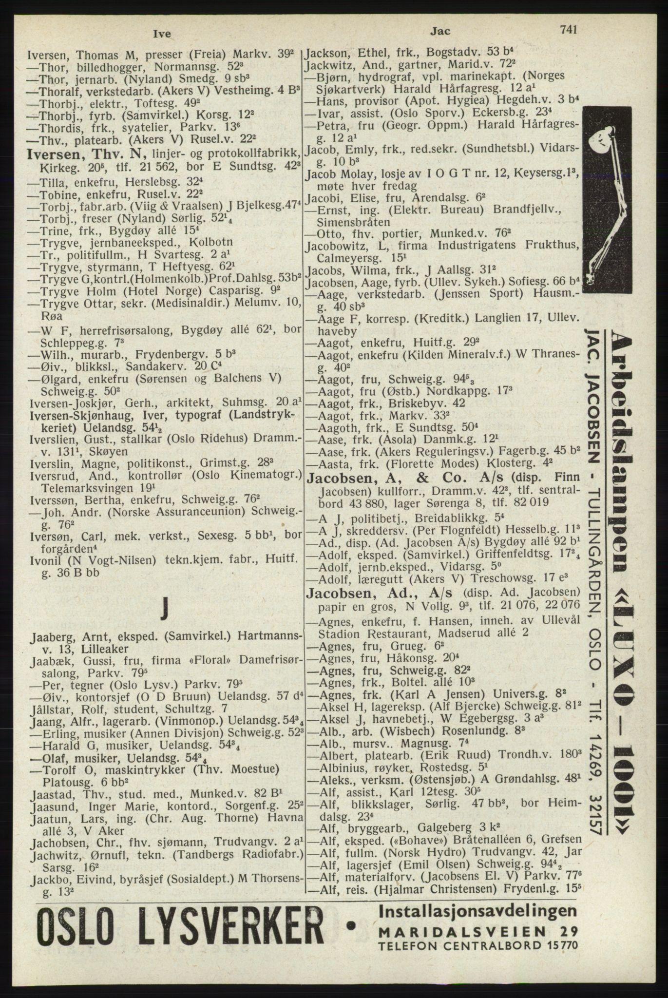 RA, Oslo adressebok (publikasjon)*, 1940, s. 741