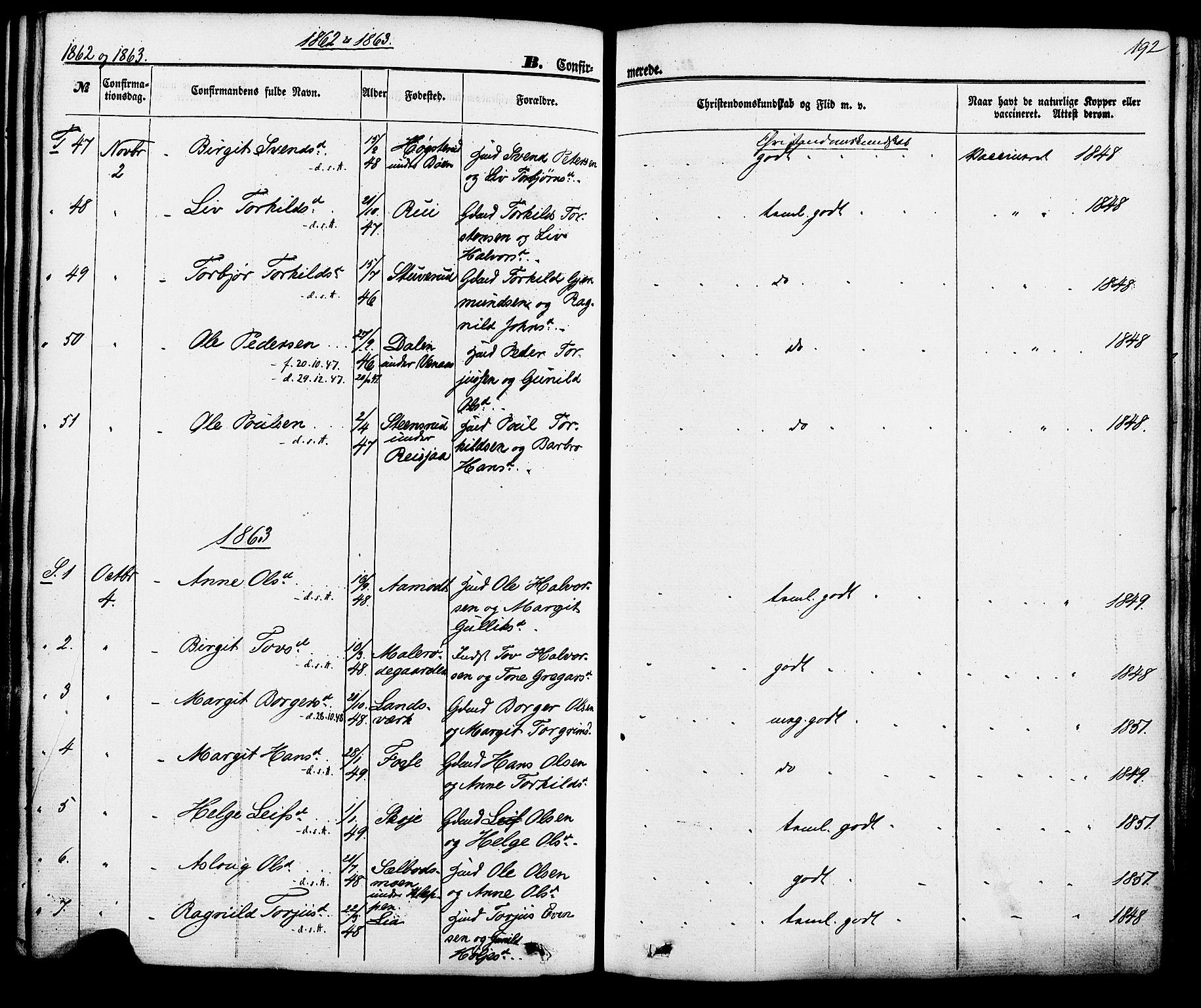 SAKO, Hjartdal kirkebøker, F/Fa/L0009: Ministerialbok nr. I 9, 1860-1879, s. 192