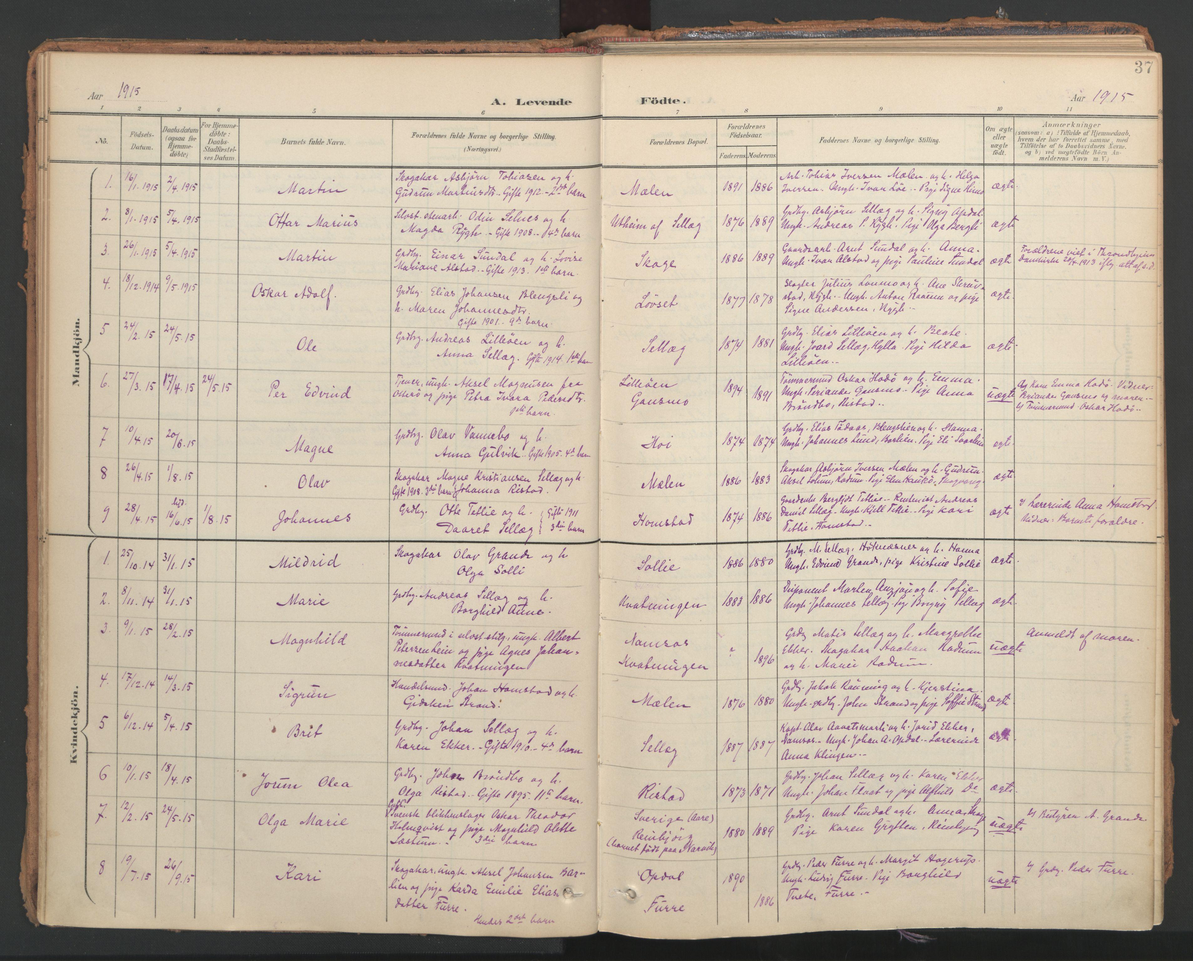 SAT, Ministerialprotokoller, klokkerbøker og fødselsregistre - Nord-Trøndelag, 766/L0564: Ministerialbok nr. 767A02, 1900-1932, s. 37