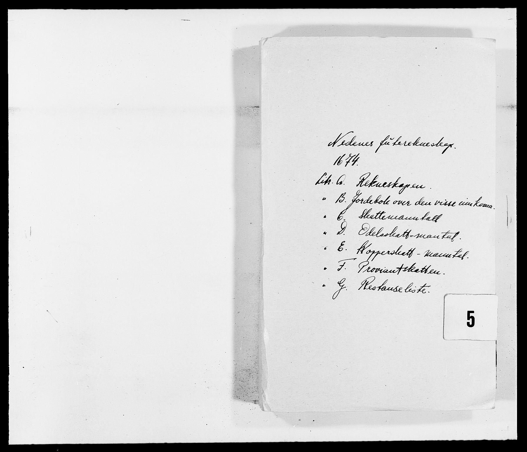 RA, Rentekammeret inntil 1814, Reviderte regnskaper, Fogderegnskap, R39/L2300: Fogderegnskap Nedenes, 1672-1674, s. 236