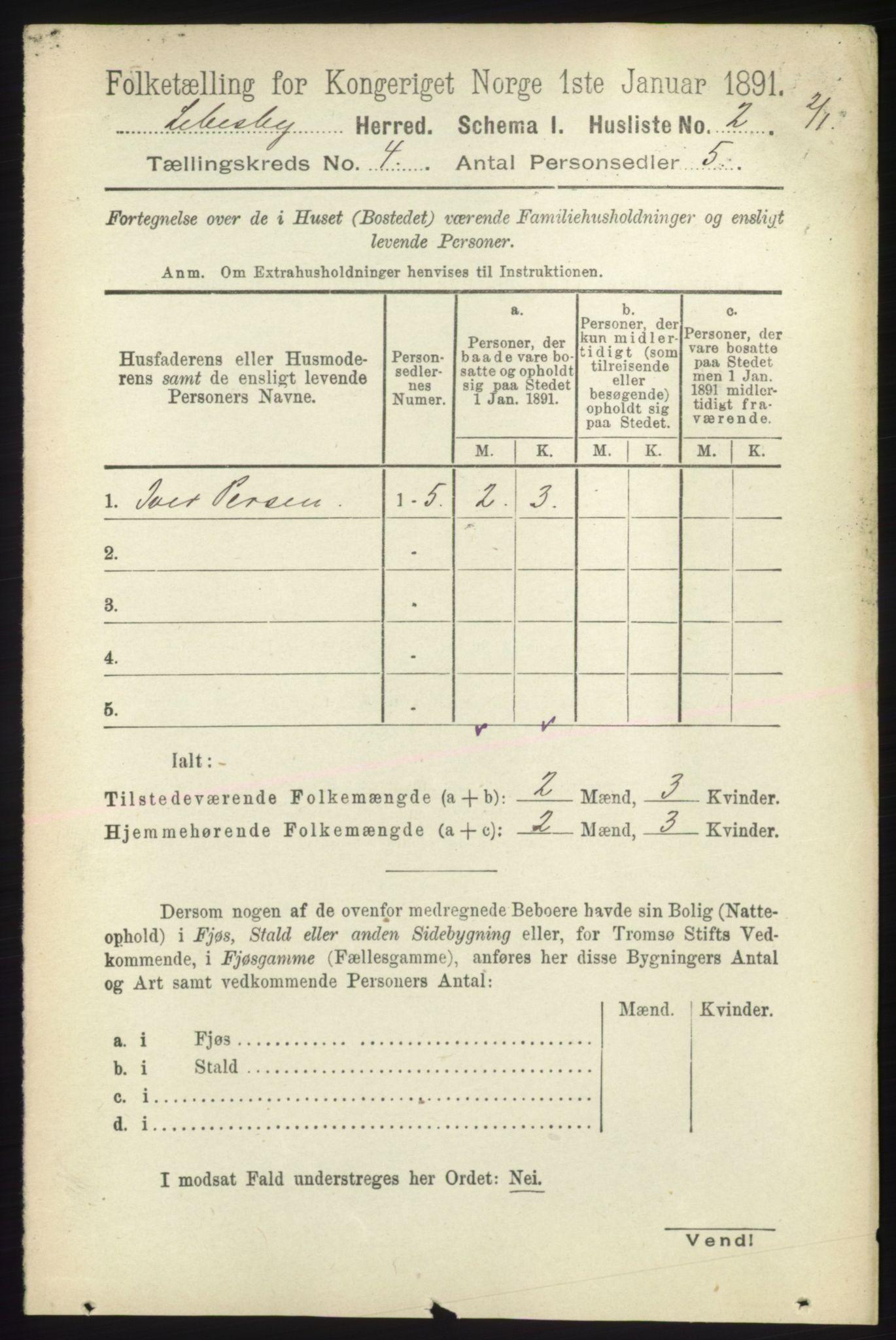 RA, Folketelling 1891 for 2022 Lebesby herred, 1891, s. 1040