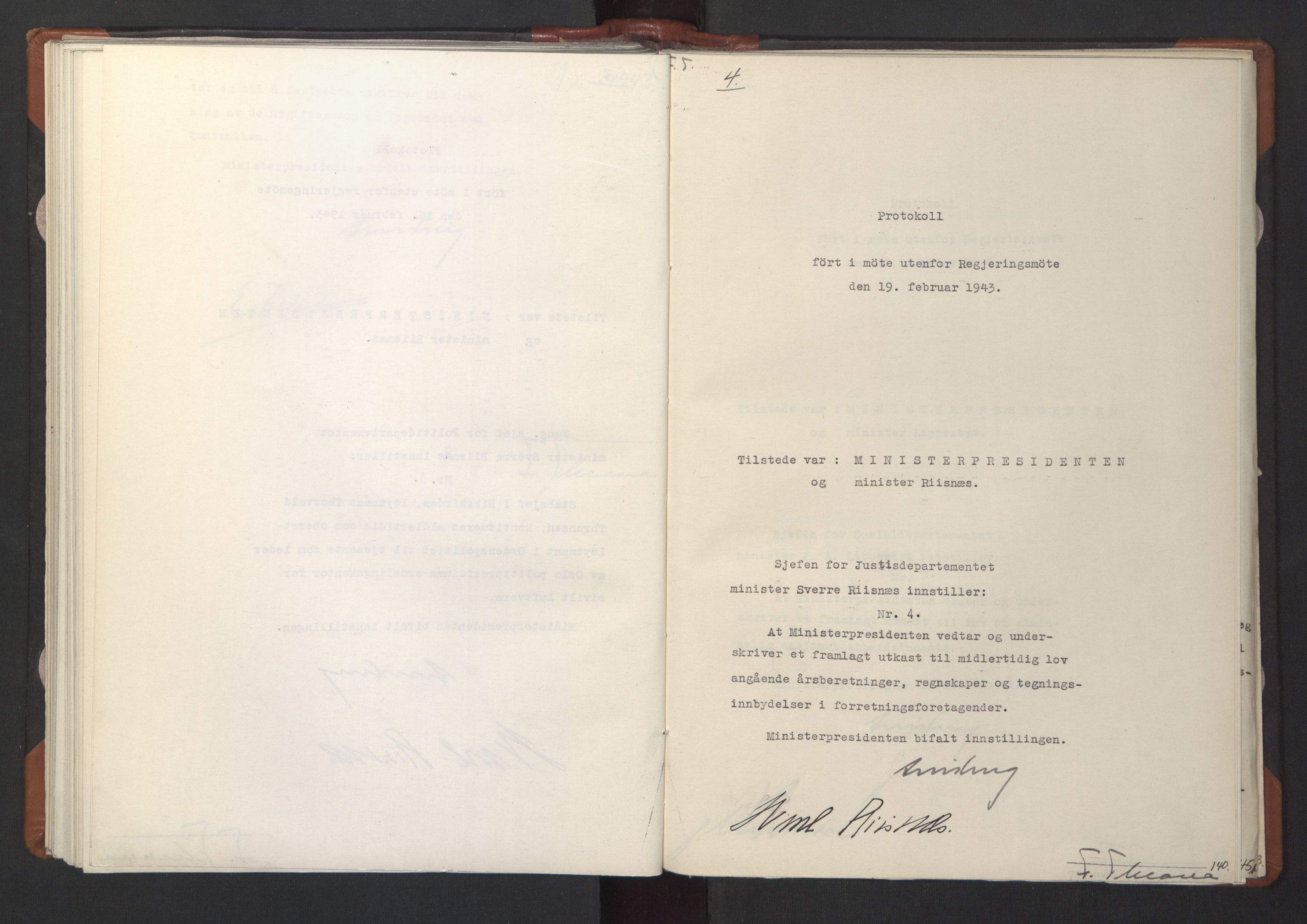 RA, NS-administrasjonen 1940-1945 (Statsrådsekretariatet, de kommisariske statsråder mm), D/Da/L0003: Vedtak (Beslutninger) nr. 1-746 og tillegg nr. 1-47 (RA. j.nr. 1394/1944, tilgangsnr. 8/1944, 1943, s. 139b-140a