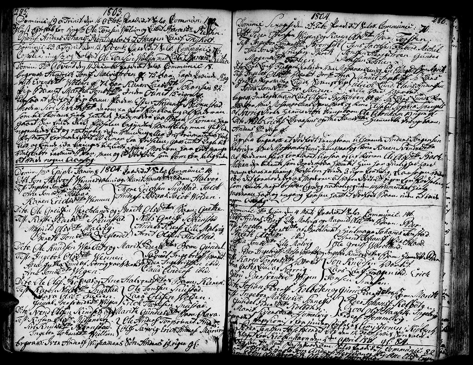 SAT, Ministerialprotokoller, klokkerbøker og fødselsregistre - Sør-Trøndelag, 606/L0281: Ministerialbok nr. 606A02 /2, 1781-1817, s. 285-286