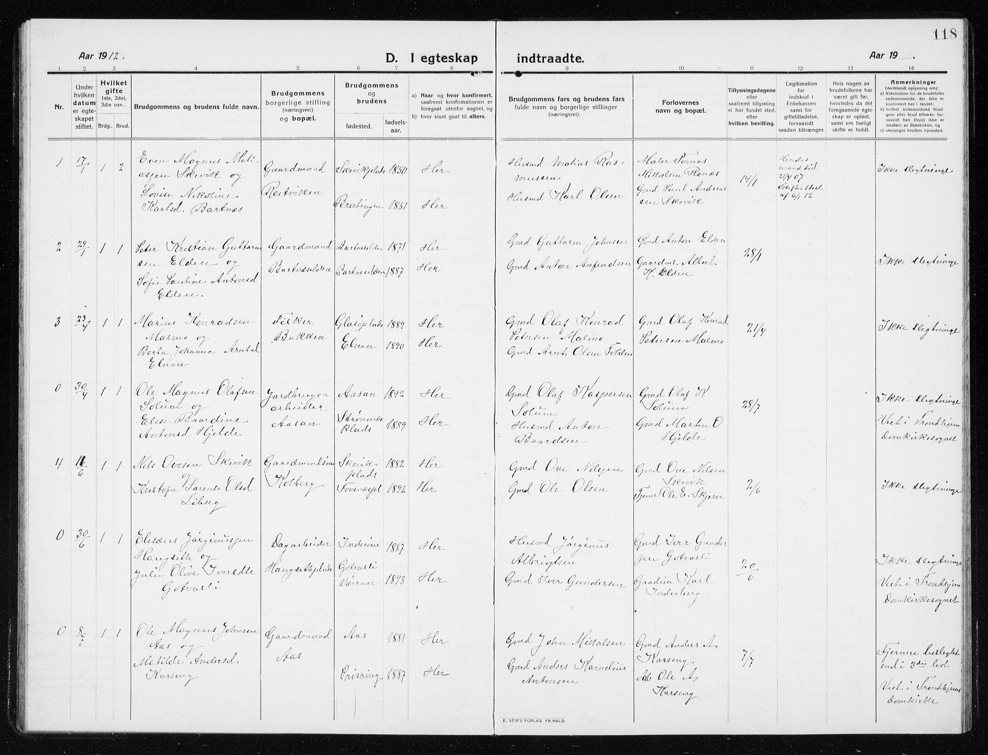 SAT, Ministerialprotokoller, klokkerbøker og fødselsregistre - Nord-Trøndelag, 741/L0402: Klokkerbok nr. 741C03, 1911-1926, s. 118