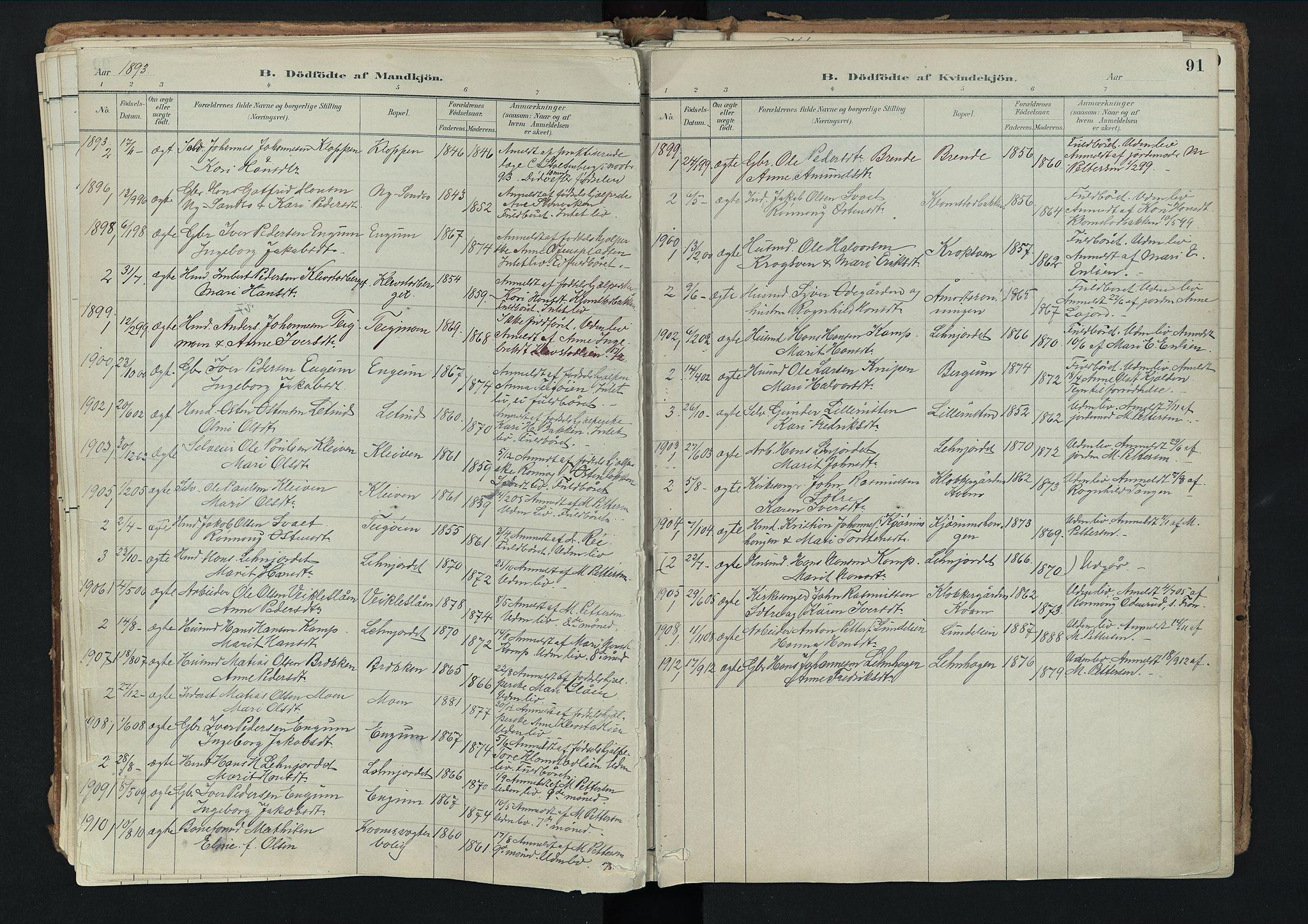 SAH, Nord-Fron prestekontor, Ministerialbok nr. 3, 1884-1914, s. 91