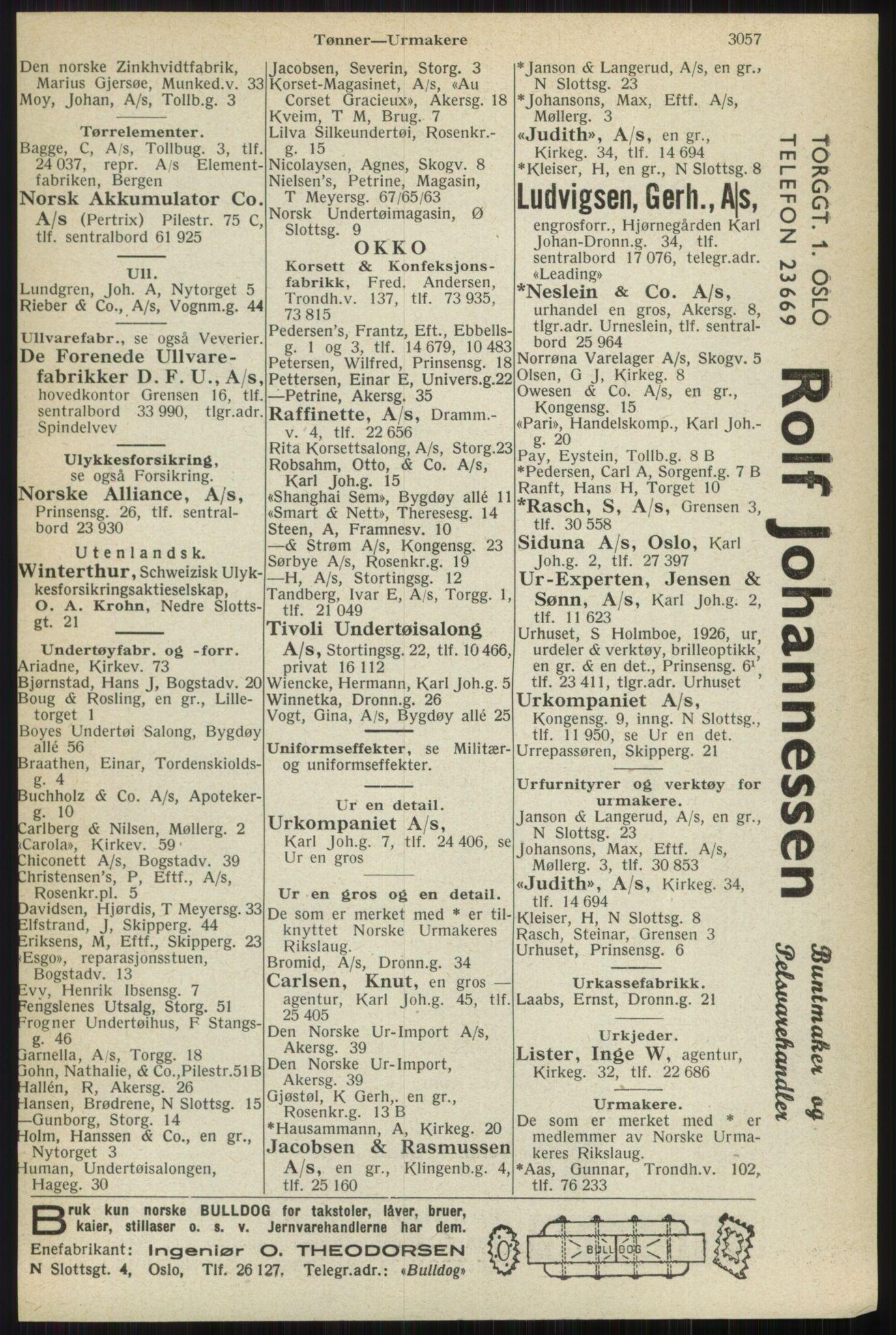 RA, Oslo adressebok (publikasjon)*, 1944, s. 3057