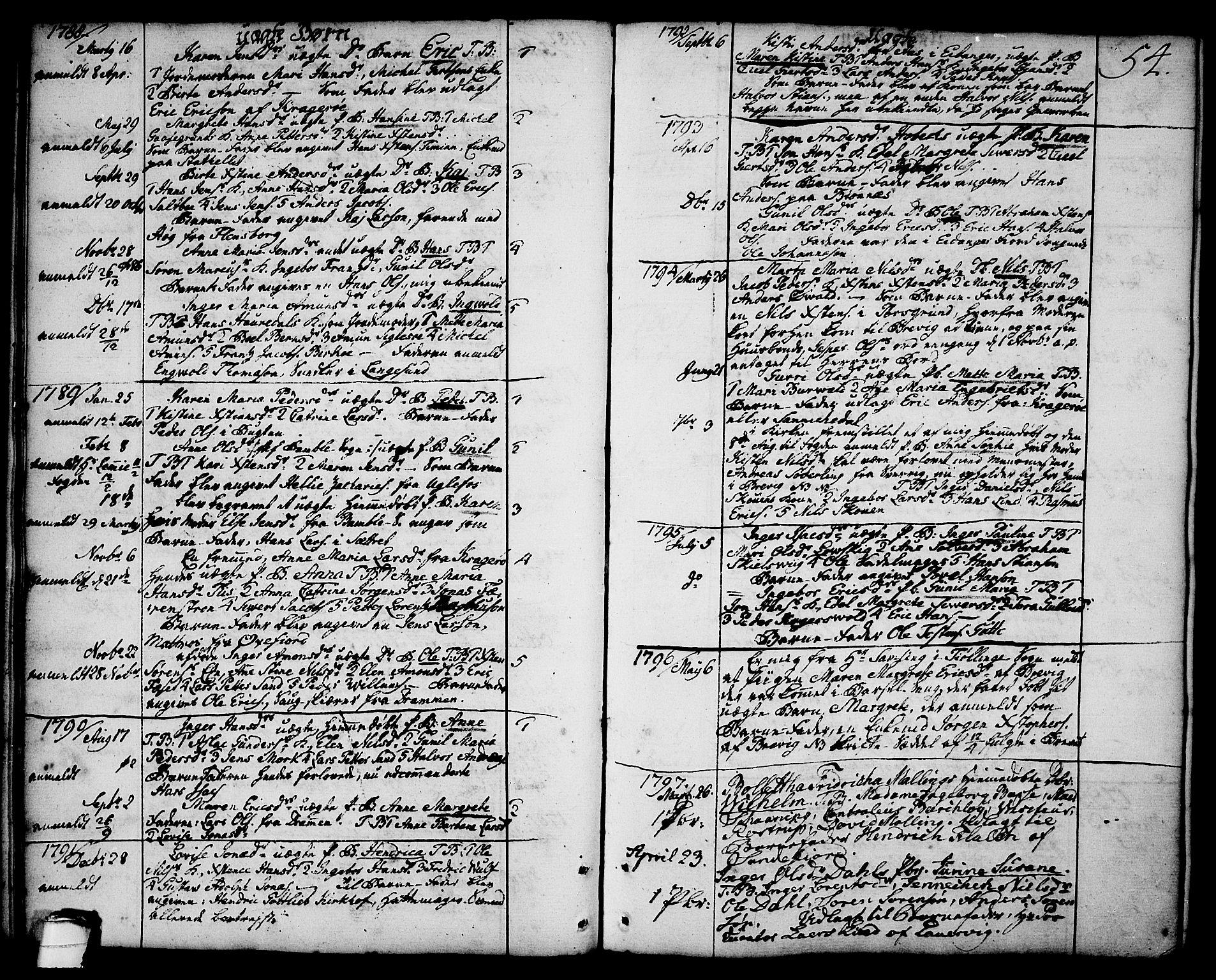 SAKO, Brevik kirkebøker, F/Fa/L0003: Ministerialbok nr. 3, 1764-1814, s. 54