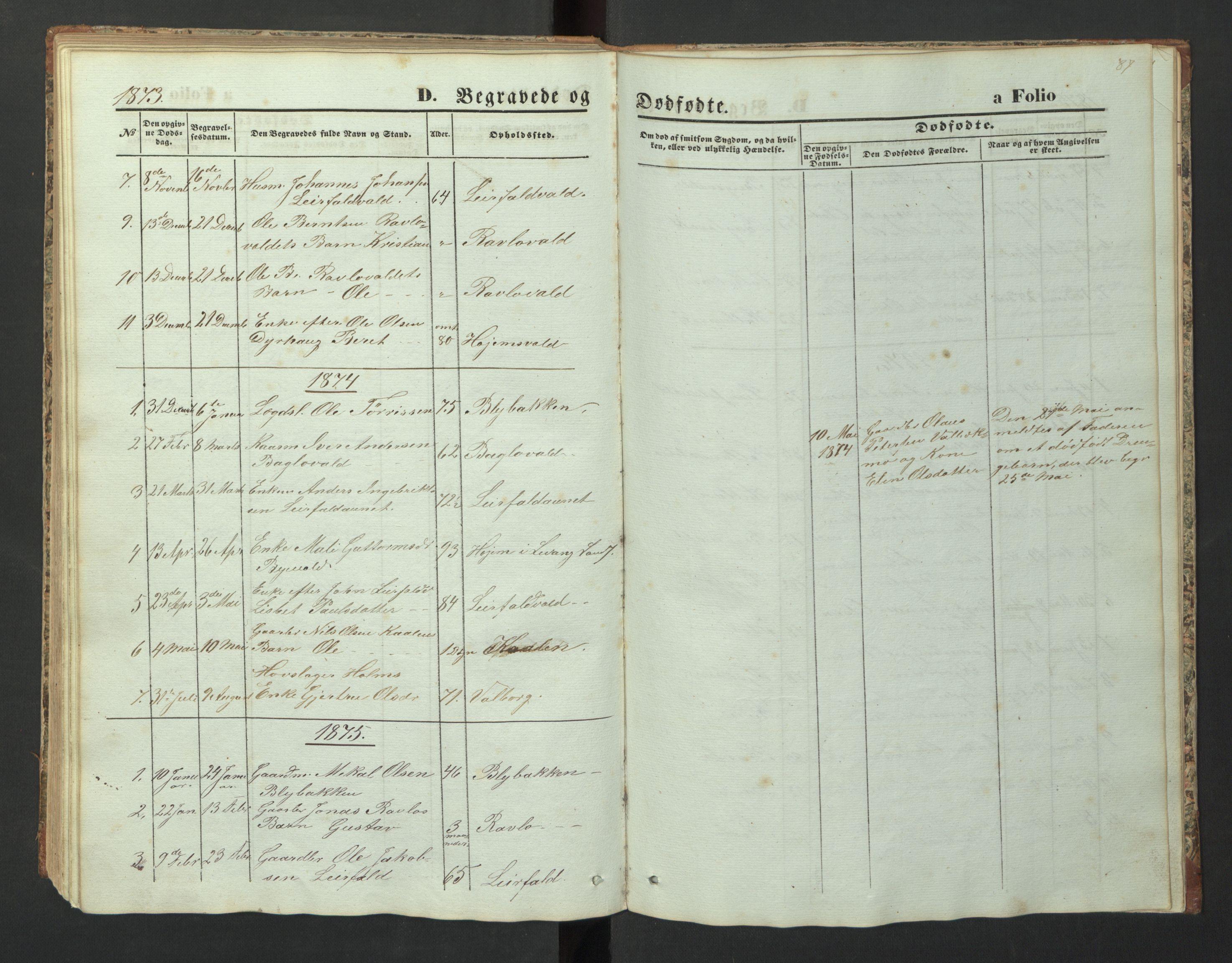 SAT, Ministerialprotokoller, klokkerbøker og fødselsregistre - Nord-Trøndelag, 726/L0271: Klokkerbok nr. 726C02, 1869-1897, s. 87
