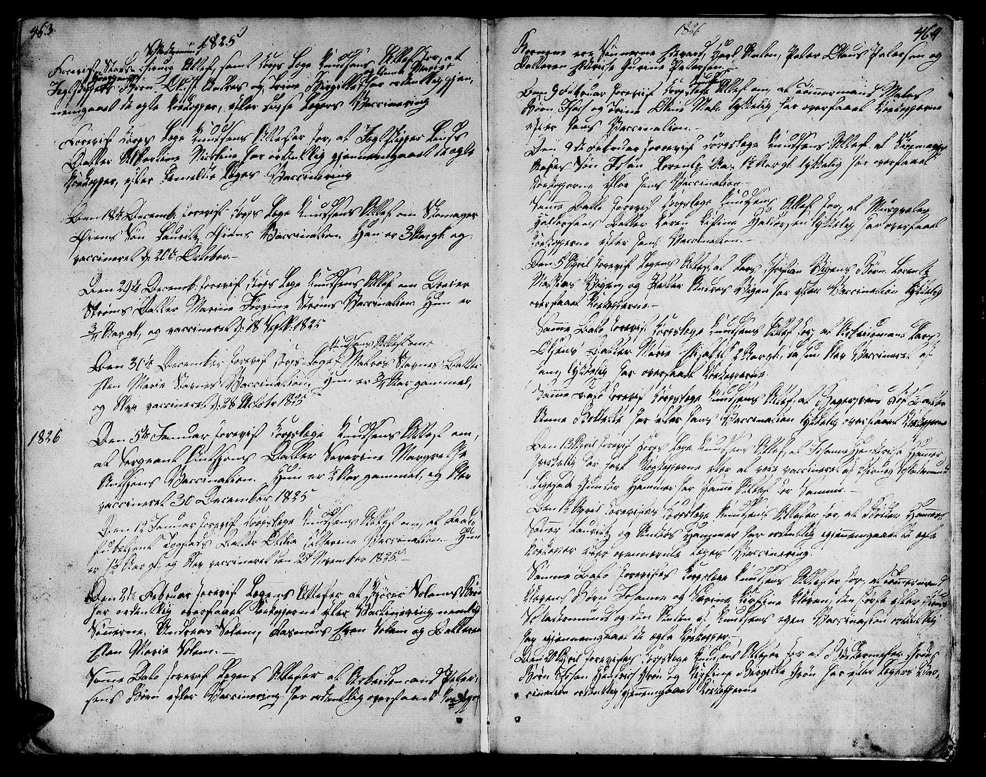 SAT, Ministerialprotokoller, klokkerbøker og fødselsregistre - Sør-Trøndelag, 601/L0042: Ministerialbok nr. 601A10, 1802-1830, s. 463-464