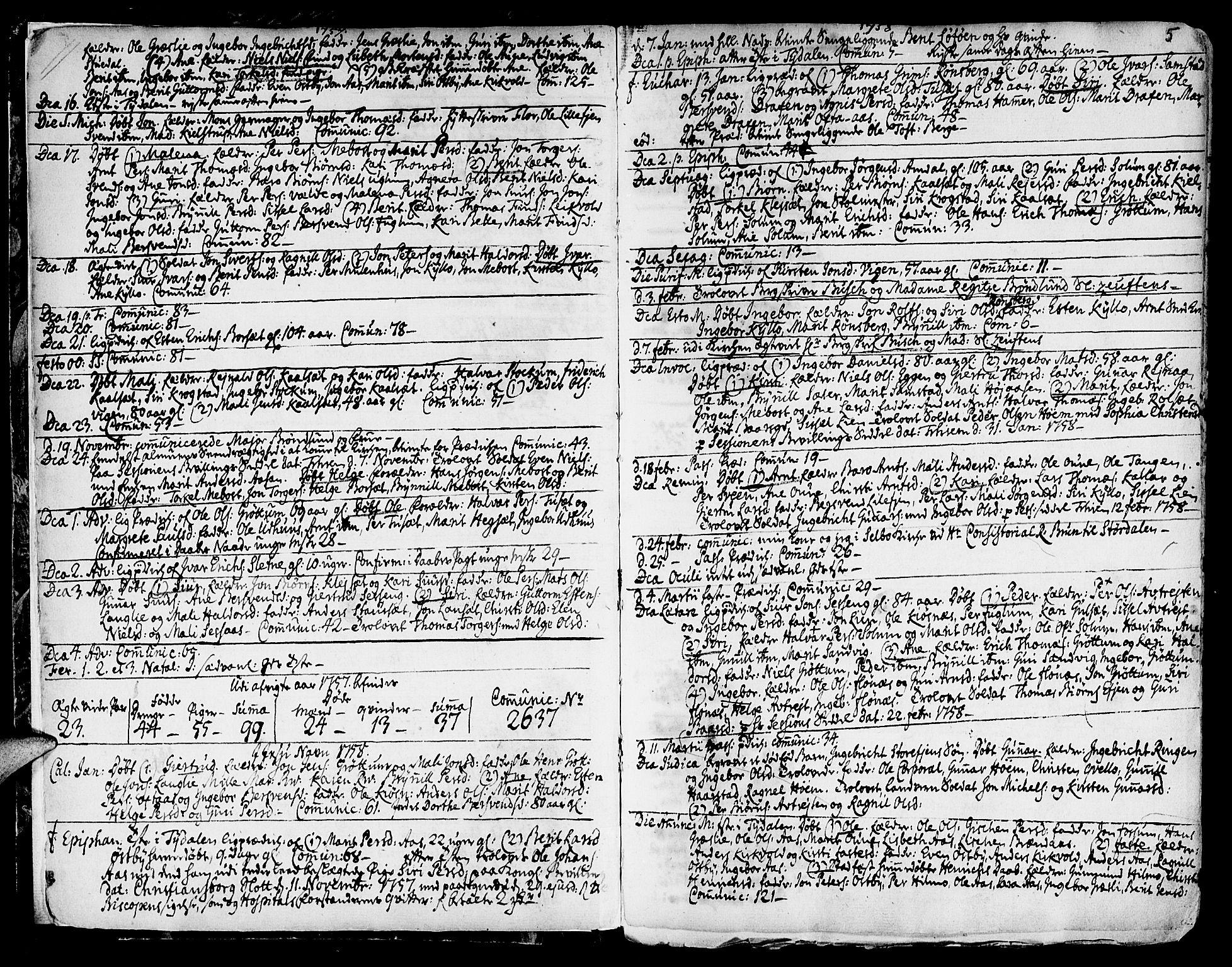 SAT, Ministerialprotokoller, klokkerbøker og fødselsregistre - Sør-Trøndelag, 695/L1138: Ministerialbok nr. 695A02 /1, 1757-1801, s. 5