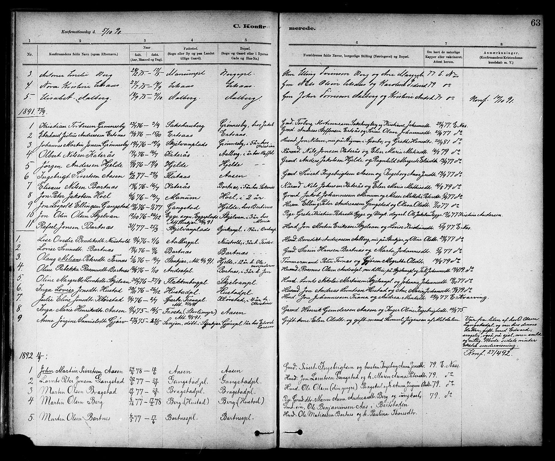 SAT, Ministerialprotokoller, klokkerbøker og fødselsregistre - Nord-Trøndelag, 732/L0318: Klokkerbok nr. 732C02, 1881-1911, s. 63