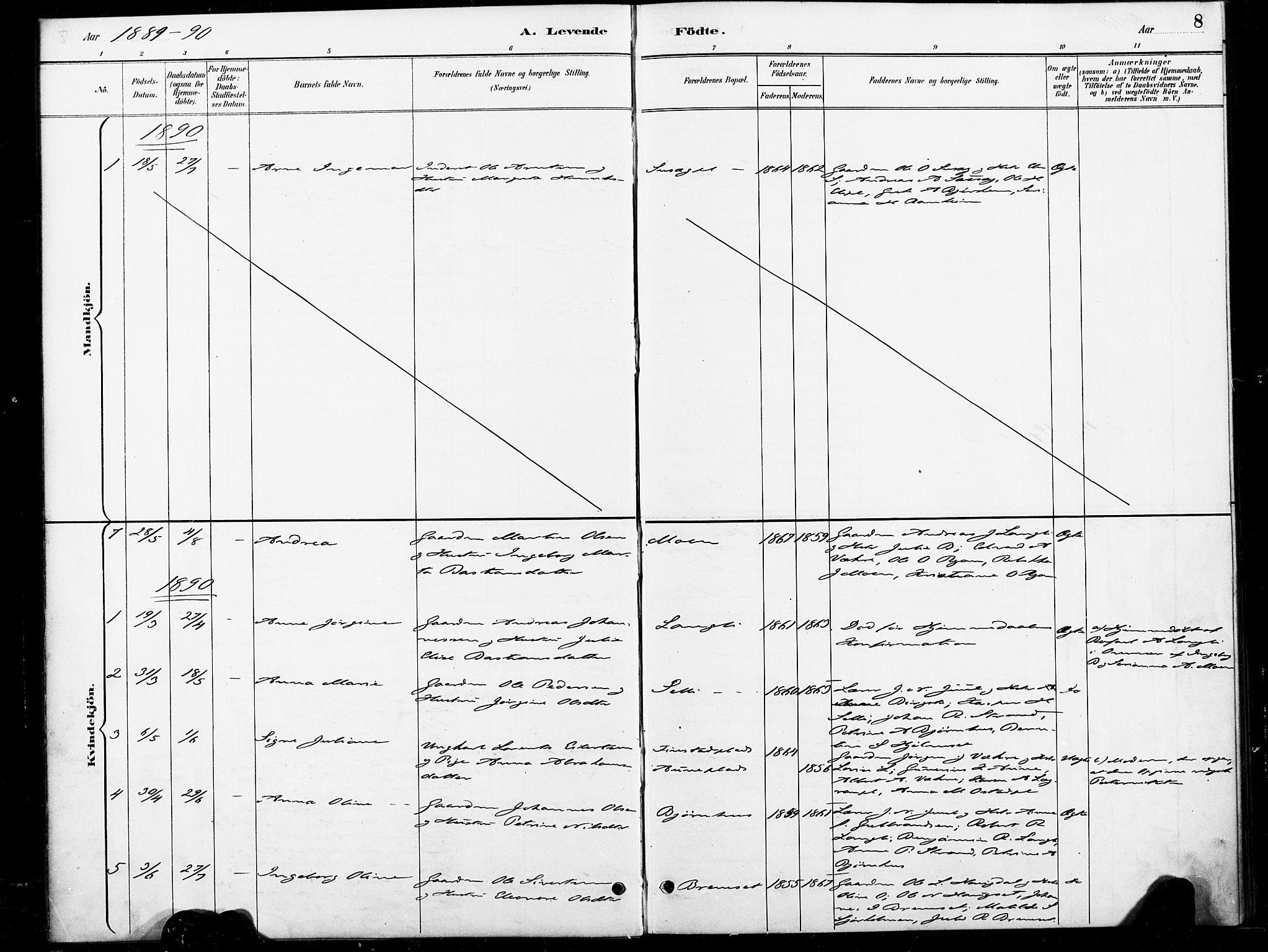 SAT, Ministerialprotokoller, klokkerbøker og fødselsregistre - Nord-Trøndelag, 738/L0364: Ministerialbok nr. 738A01, 1884-1902, s. 8