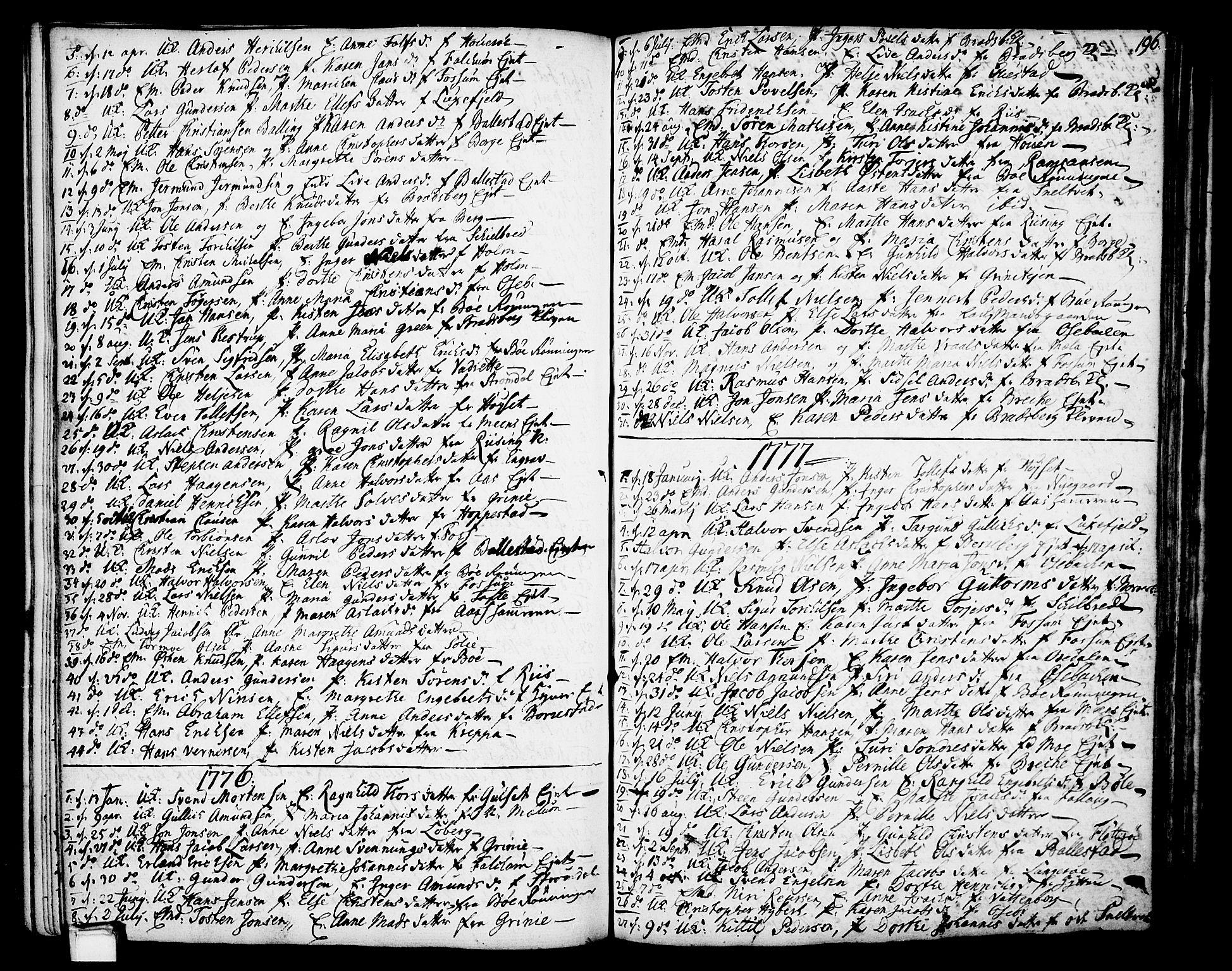 SAKO, Gjerpen kirkebøker, F/Fa/L0002: Ministerialbok nr. 2, 1747-1795, s. 196