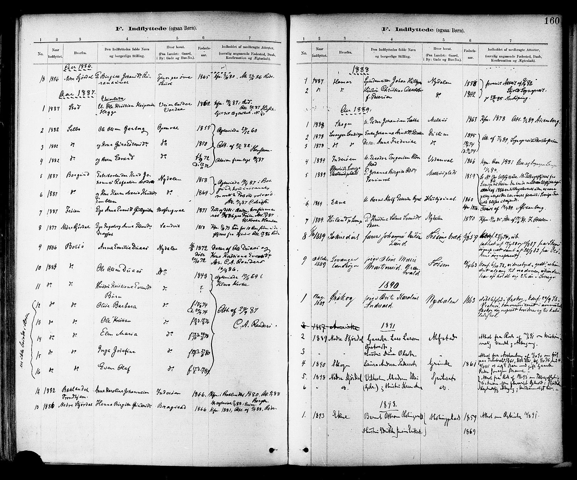 SAT, Ministerialprotokoller, klokkerbøker og fødselsregistre - Nord-Trøndelag, 714/L0130: Ministerialbok nr. 714A01, 1878-1895, s. 160