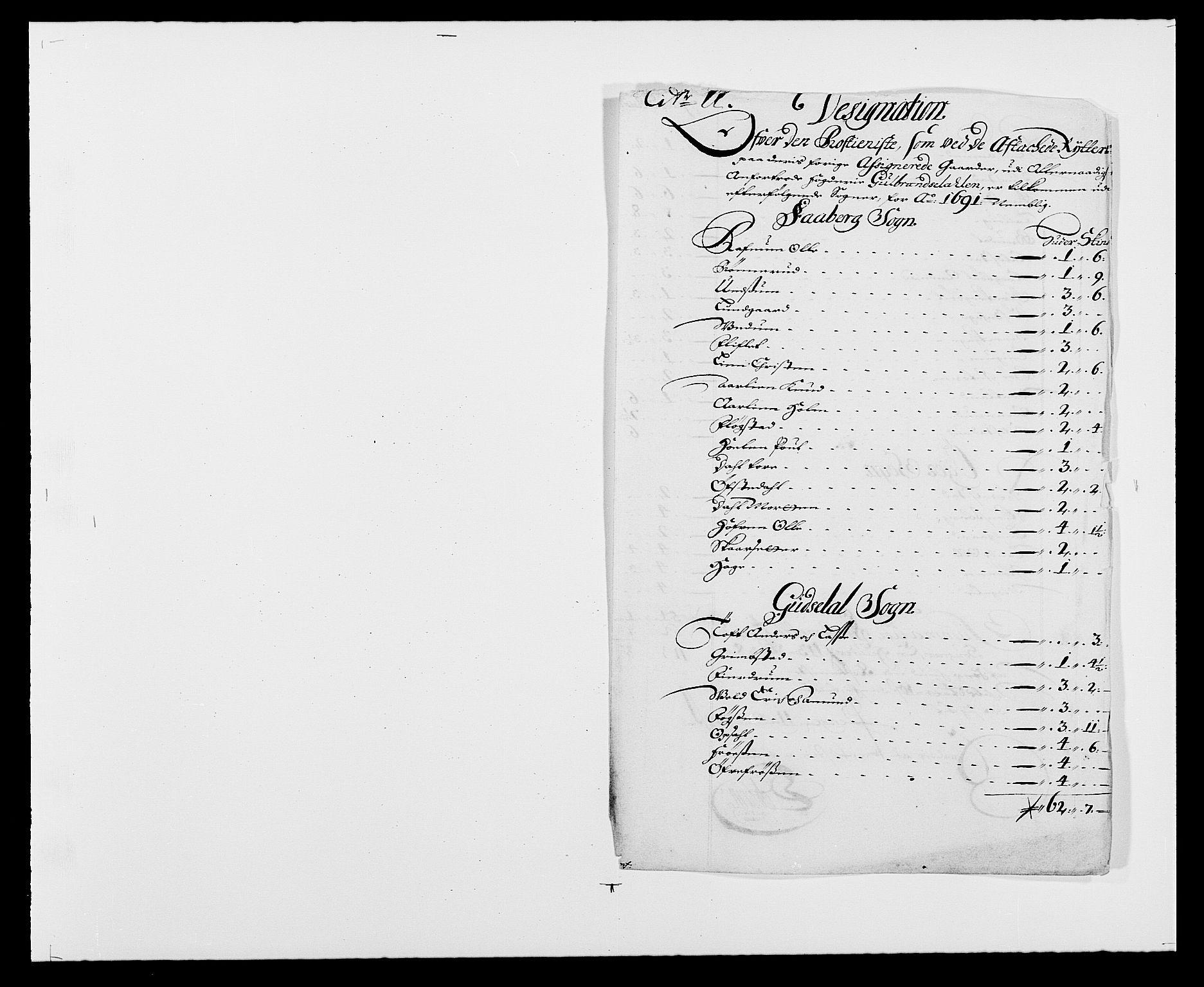 RA, Rentekammeret inntil 1814, Reviderte regnskaper, Fogderegnskap, R17/L1165: Fogderegnskap Gudbrandsdal, 1690-1692, s. 331