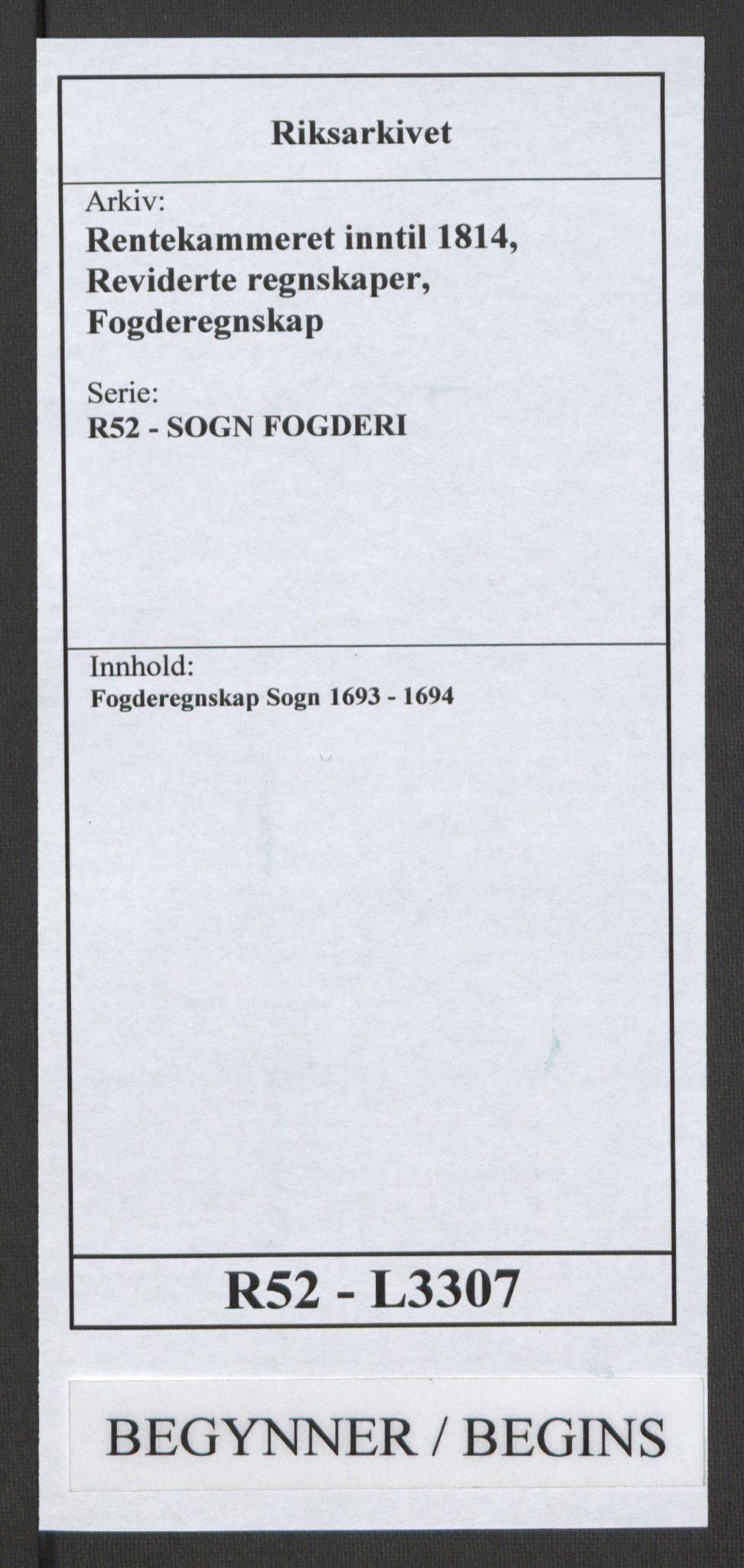 RA, Rentekammeret inntil 1814, Reviderte regnskaper, Fogderegnskap, R52/L3307: Fogderegnskap Sogn, 1693-1694, s. 1