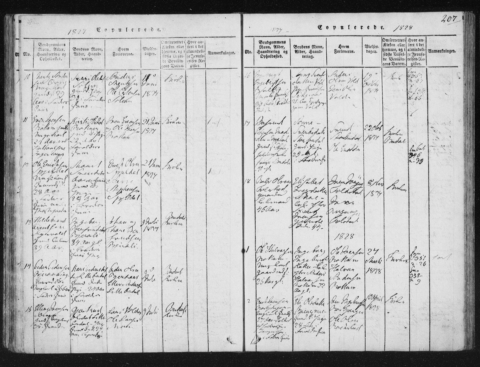SAT, Ministerialprotokoller, klokkerbøker og fødselsregistre - Sør-Trøndelag, 687/L0996: Ministerialbok nr. 687A04, 1816-1842, s. 207