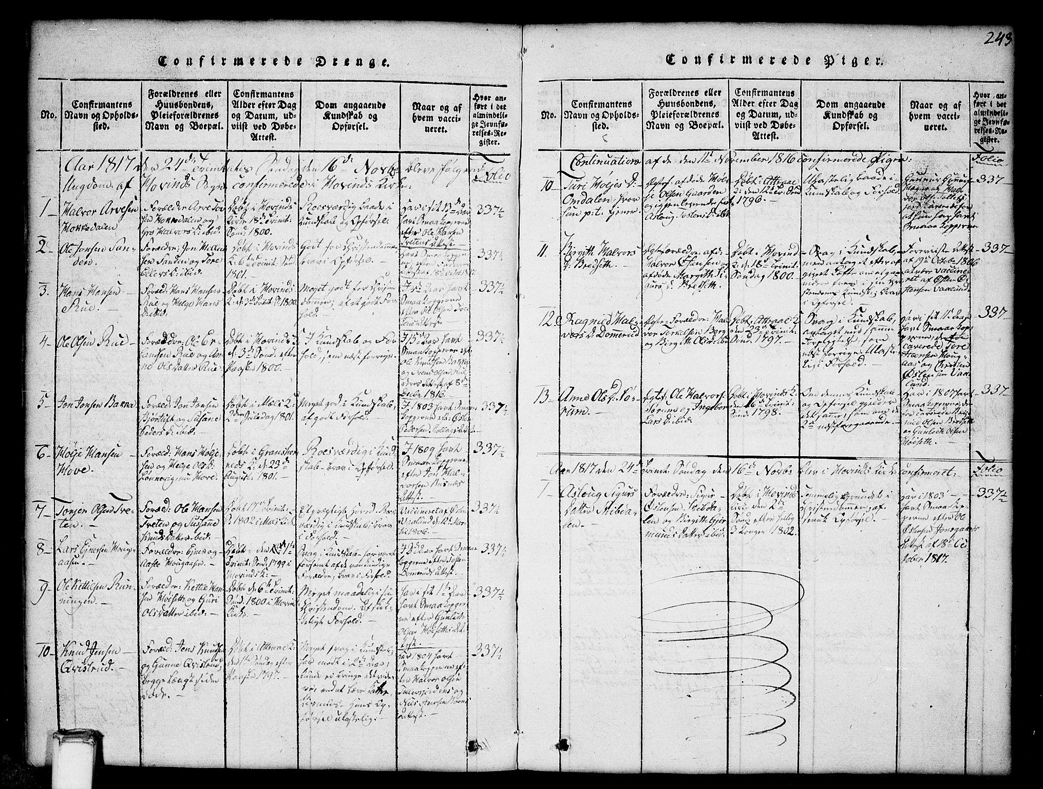 SAKO, Gransherad kirkebøker, G/Gb/L0001: Klokkerbok nr. II 1, 1815-1860, s. 243