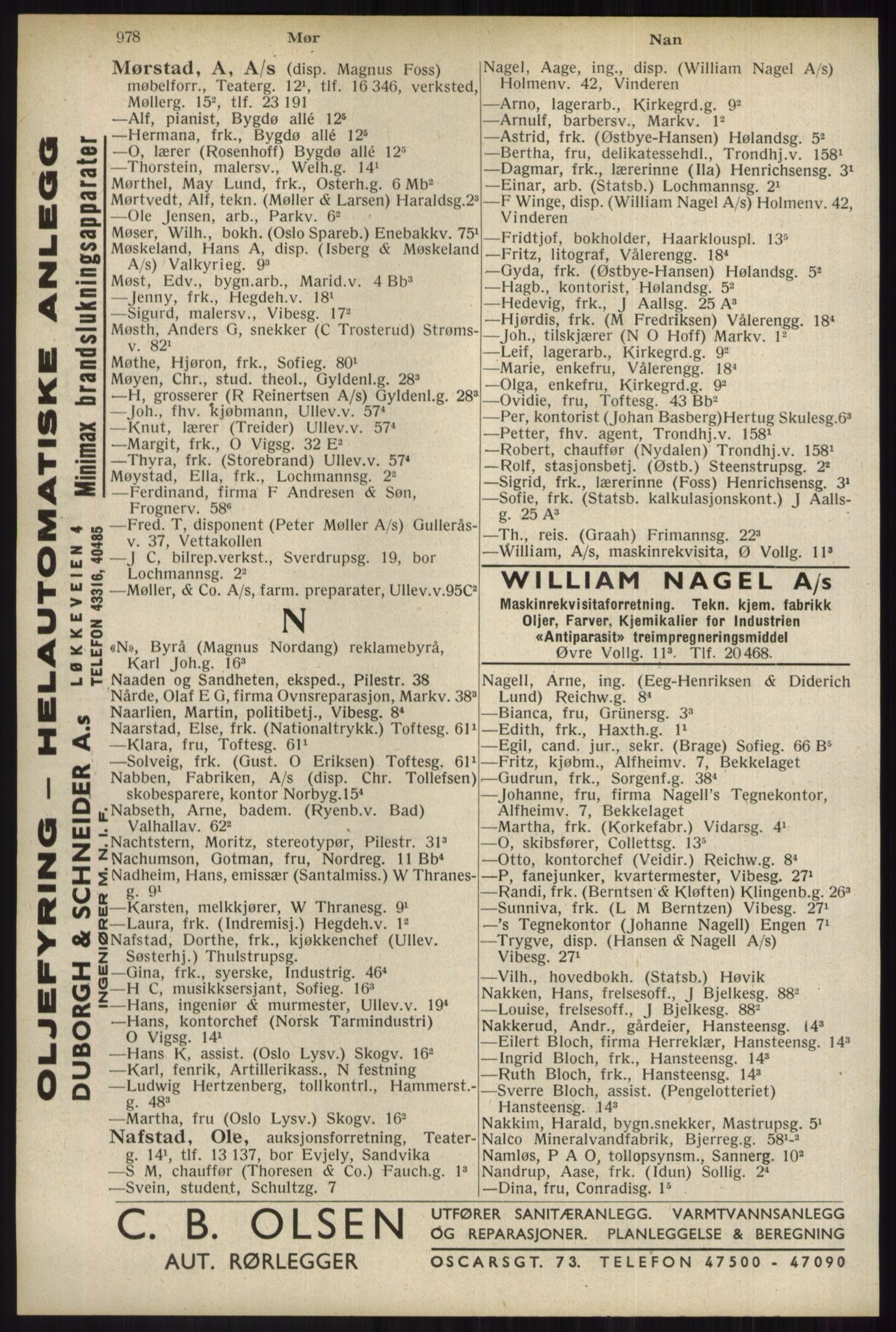 RA, Oslo adressebok (publikasjon)*, 1934, s. 978