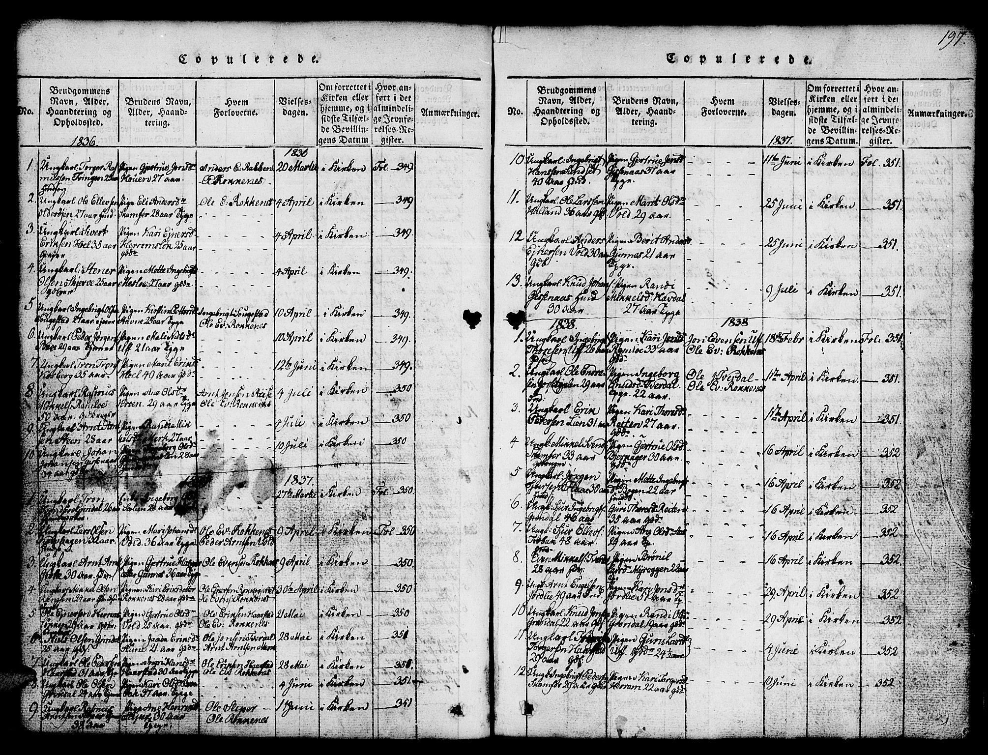 SAT, Ministerialprotokoller, klokkerbøker og fødselsregistre - Sør-Trøndelag, 674/L0874: Klokkerbok nr. 674C01, 1816-1860, s. 197