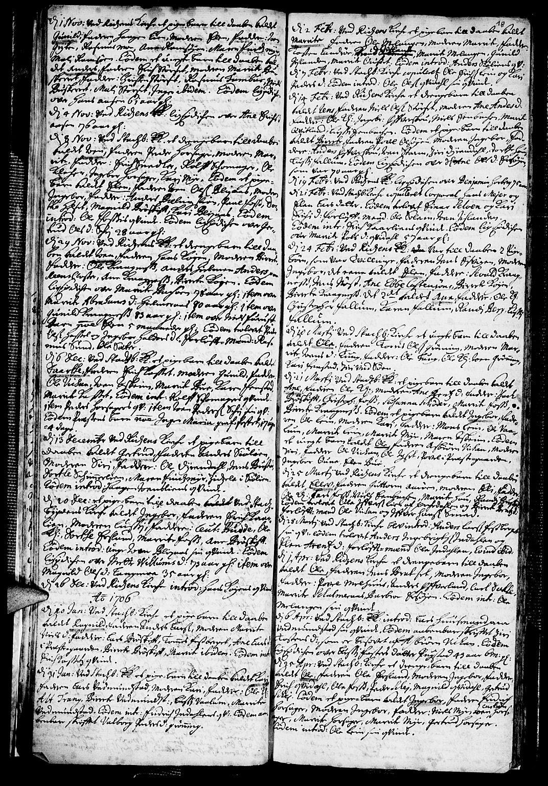 SAT, Ministerialprotokoller, klokkerbøker og fødselsregistre - Sør-Trøndelag, 646/L0603: Ministerialbok nr. 646A01, 1700-1734, s. 18