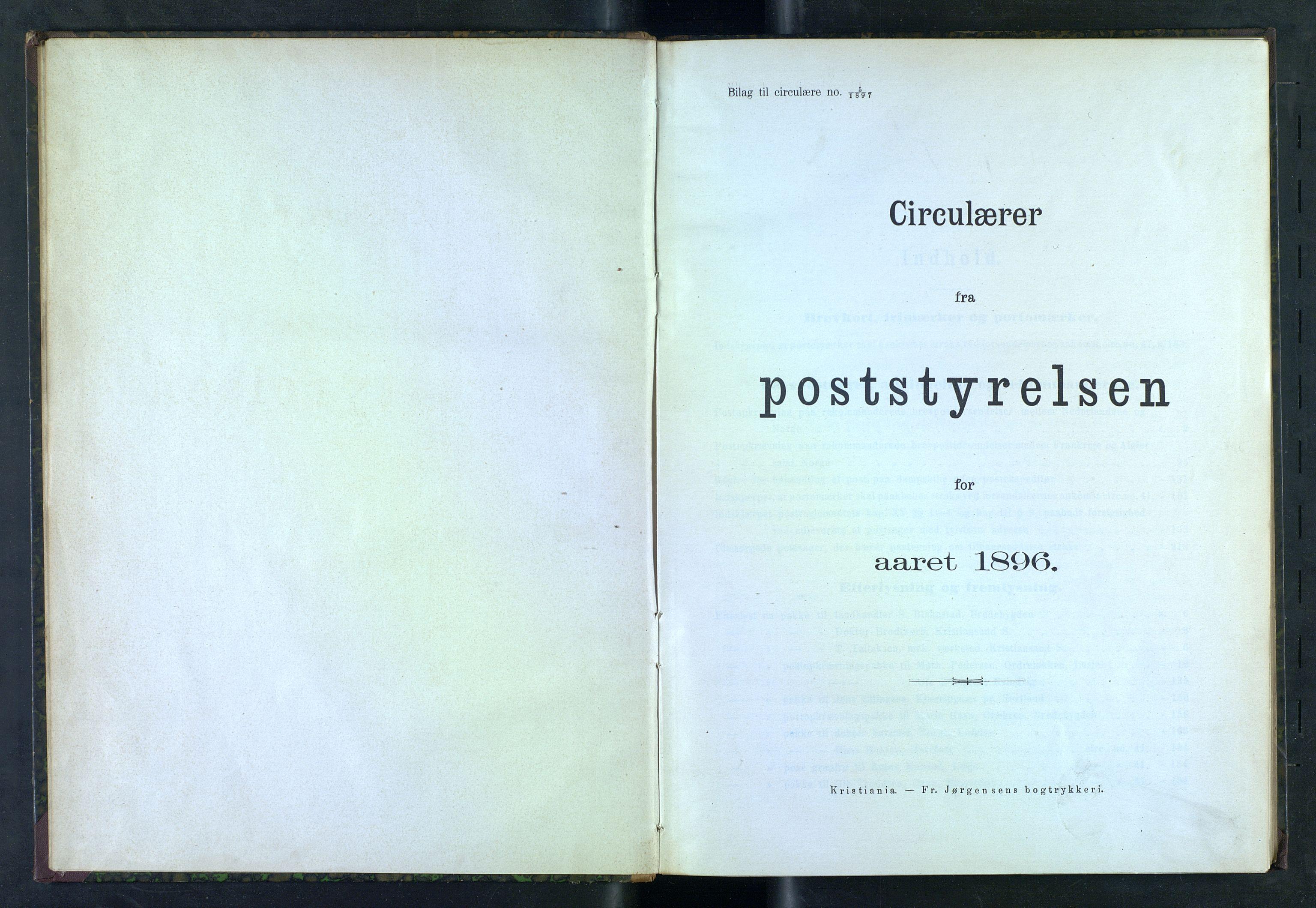 NOPO, Norges Postmuseums bibliotek, -/-: Sirkulærer fra Poststyrelsen, 1896