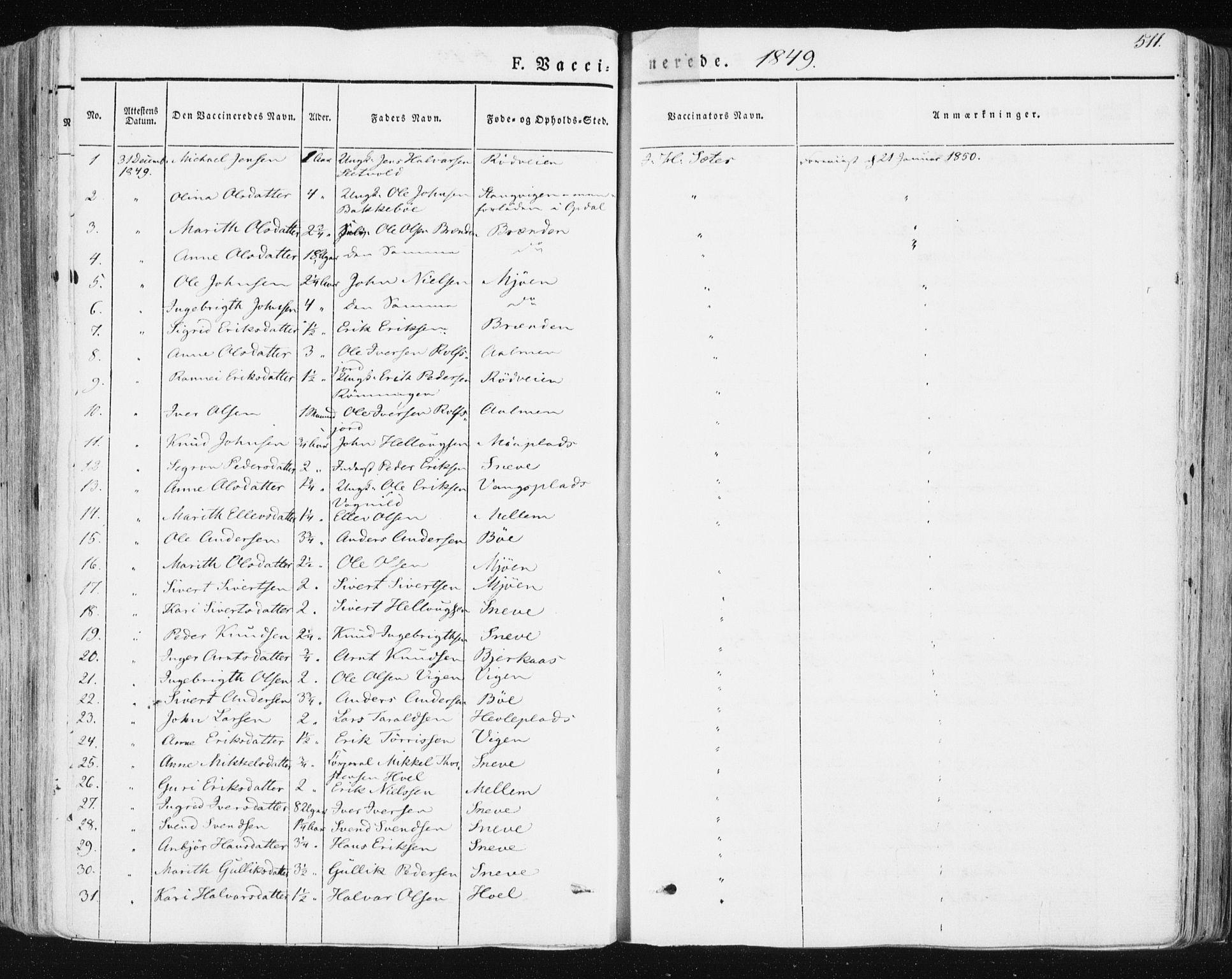 SAT, Ministerialprotokoller, klokkerbøker og fødselsregistre - Sør-Trøndelag, 678/L0899: Ministerialbok nr. 678A08, 1848-1872, s. 511