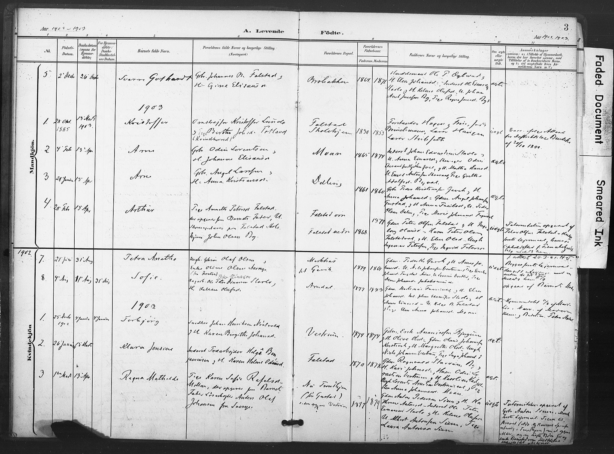 SAT, Ministerialprotokoller, klokkerbøker og fødselsregistre - Nord-Trøndelag, 719/L0179: Ministerialbok nr. 719A02, 1901-1923, s. 3
