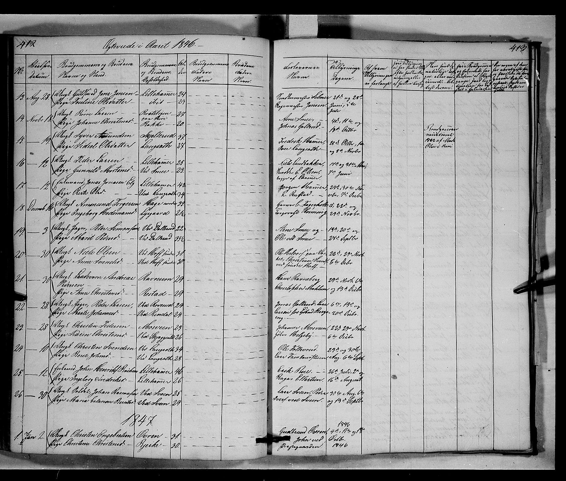 SAH, Fåberg prestekontor, Klokkerbok nr. 6, 1837-1855, s. 412-413