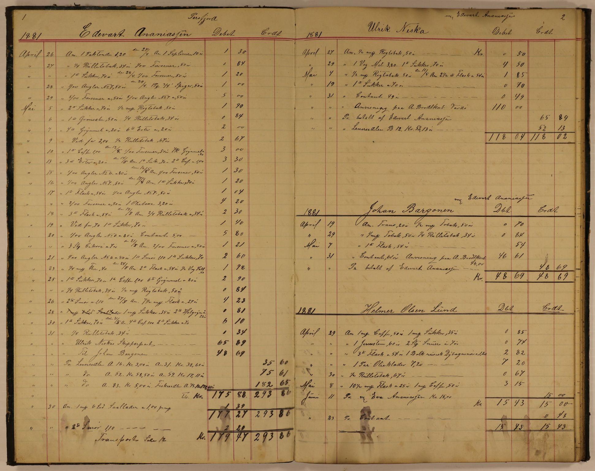 VAMU, Brodtkorb handel A/S, E/Ea/L0003: Skipperbøker. Persfjord, 1881-1884, s. 1-2