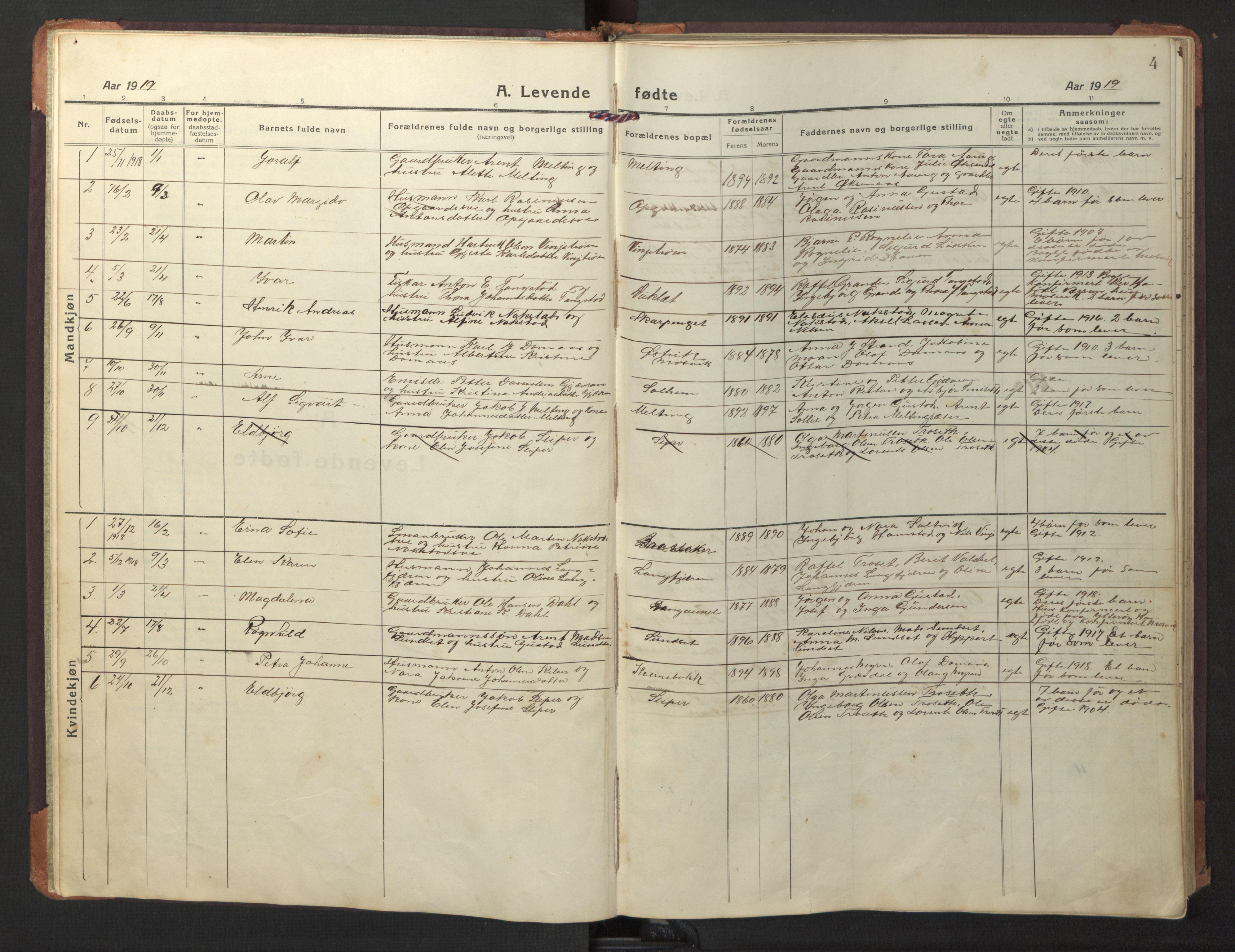 SAT, Ministerialprotokoller, klokkerbøker og fødselsregistre - Nord-Trøndelag, 733/L0328: Klokkerbok nr. 733C03, 1919-1966, s. 4