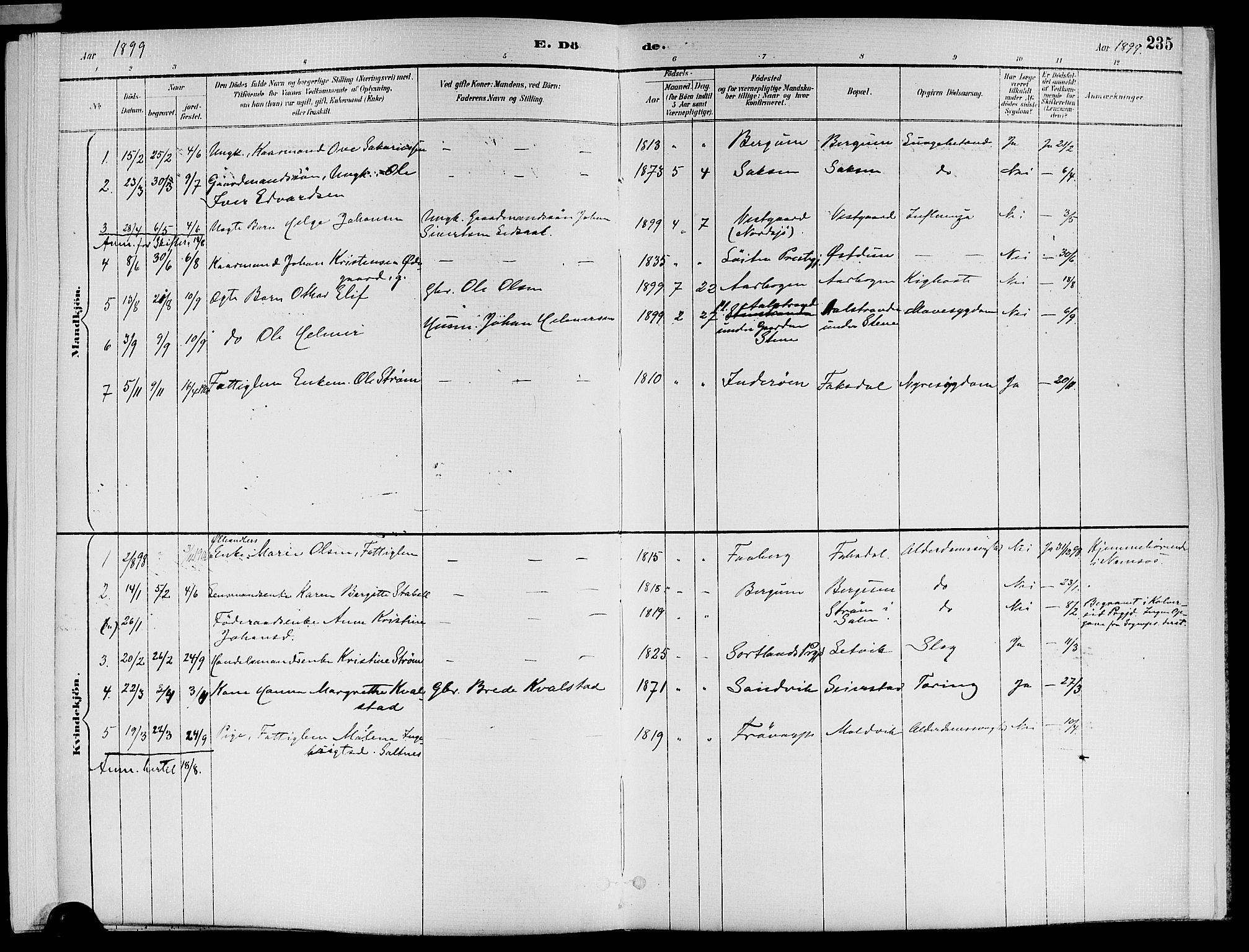 SAT, Ministerialprotokoller, klokkerbøker og fødselsregistre - Nord-Trøndelag, 773/L0617: Ministerialbok nr. 773A08, 1887-1910, s. 235