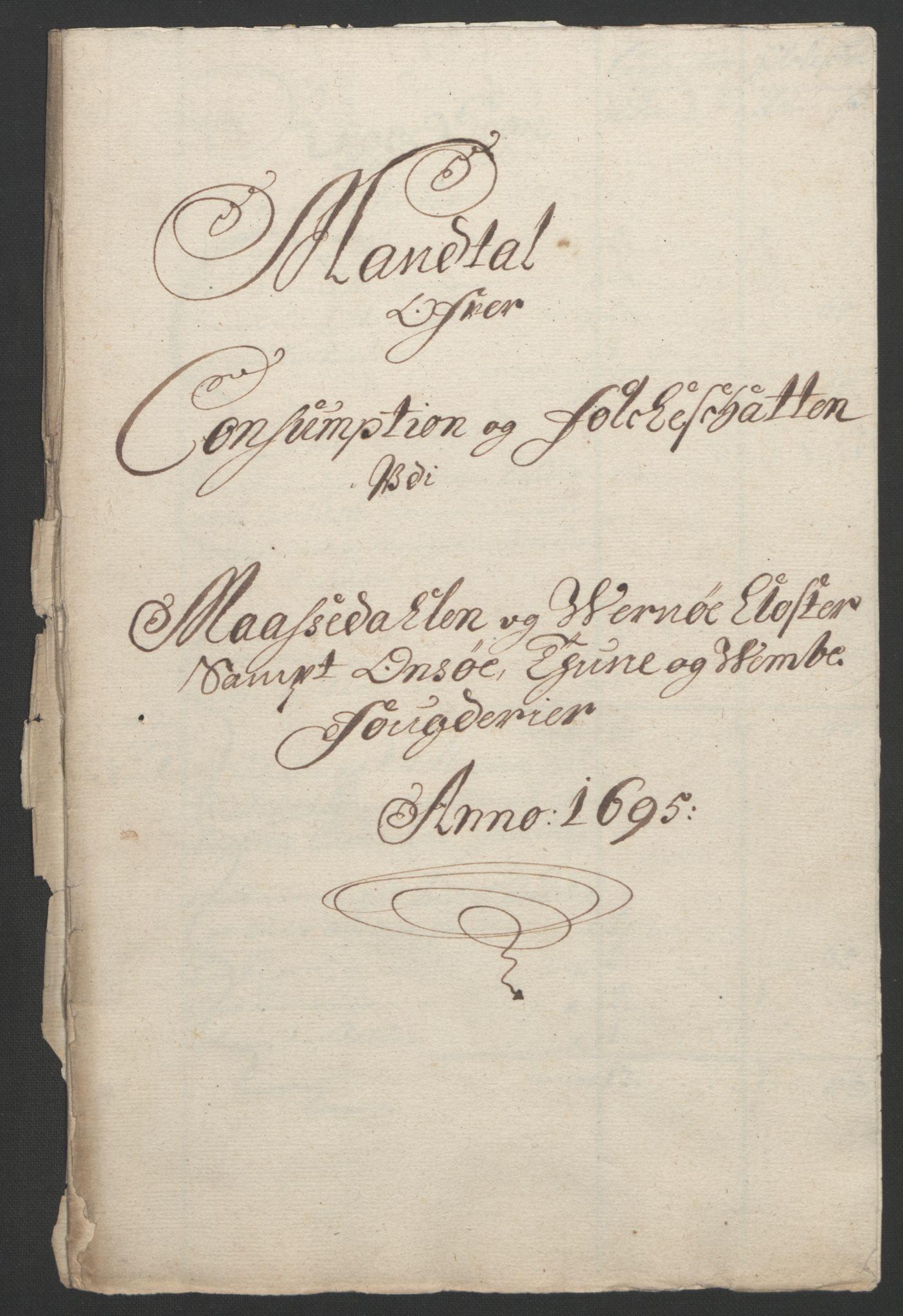 RA, Rentekammeret inntil 1814, Reviderte regnskaper, Fogderegnskap, R04/L0122: Fogderegnskap Moss, Onsøy, Tune, Veme og Åbygge, 1695, s. 285