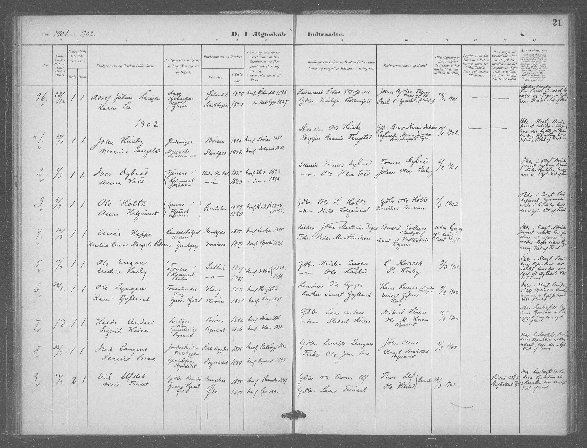 SAT, Ministerialprotokoller, klokkerbøker og fødselsregistre - Sør-Trøndelag, 601/L0077: Residerende kapellans bok nr. 601B10, 1900-1907, s. 21