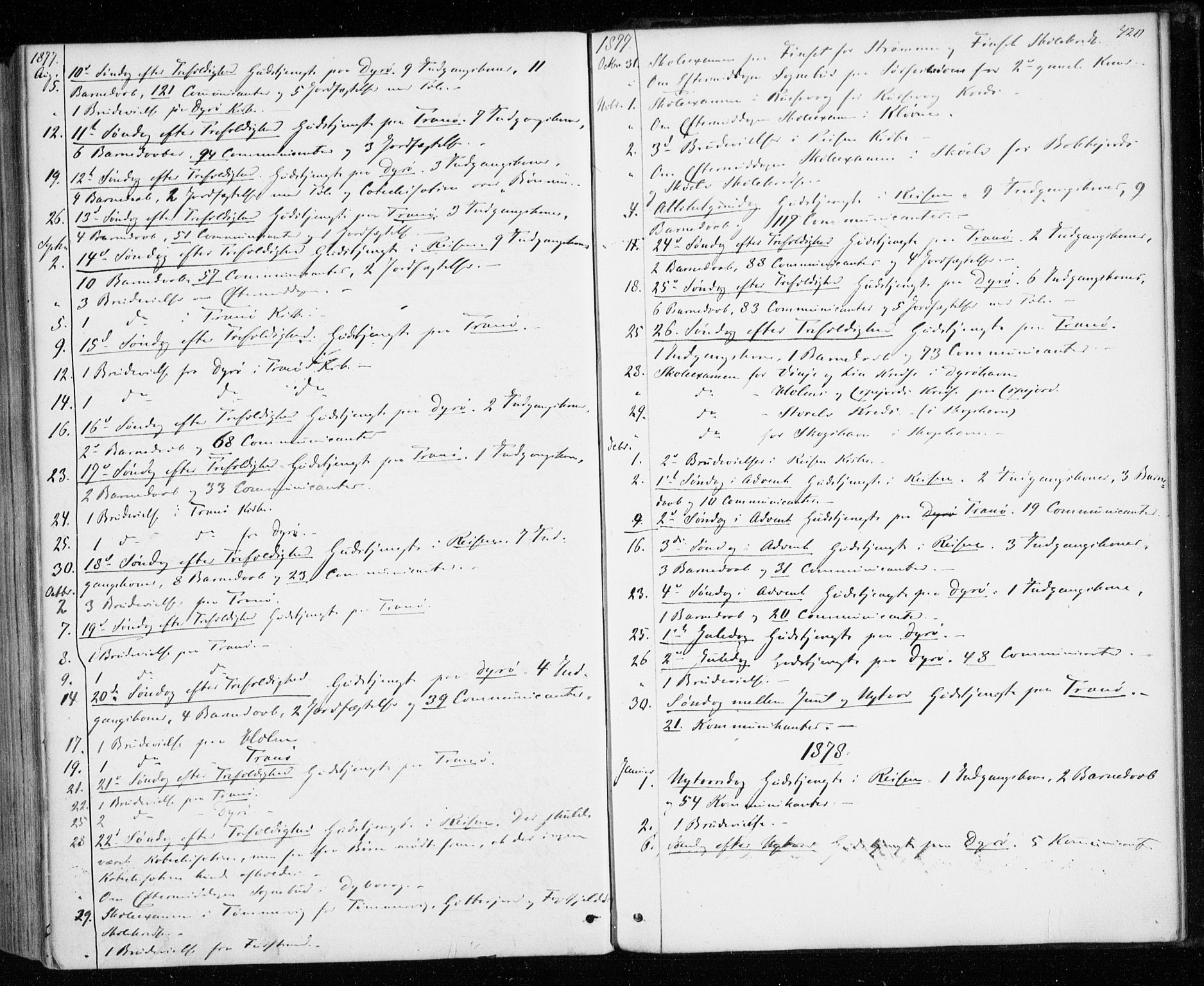 SATØ, Tranøy sokneprestkontor, I/Ia/Iaa/L0008kirke: Ministerialbok nr. 8, 1867-1877, s. 420