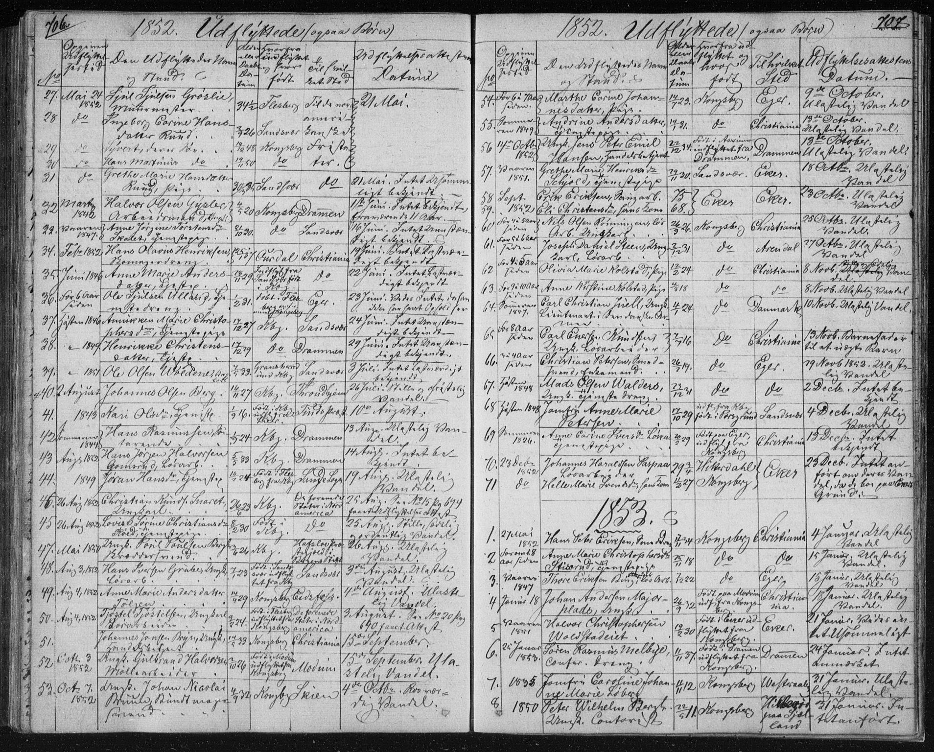 SAKO, Kongsberg kirkebøker, F/Fa/L0009: Ministerialbok nr. I 9, 1839-1858, s. 706-707