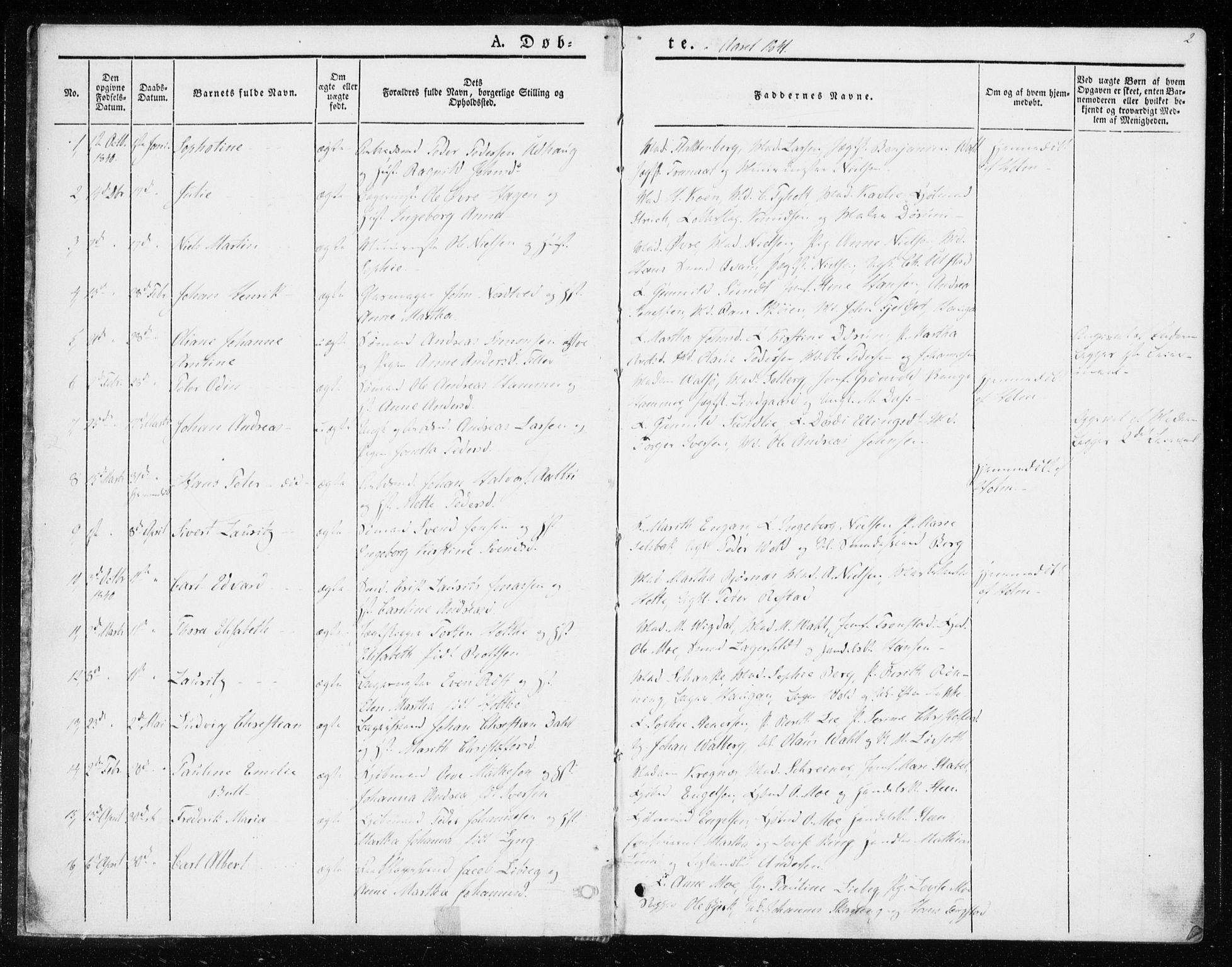 SAT, Ministerialprotokoller, klokkerbøker og fødselsregistre - Sør-Trøndelag, 604/L0183: Ministerialbok nr. 604A04, 1841-1850, s. 2