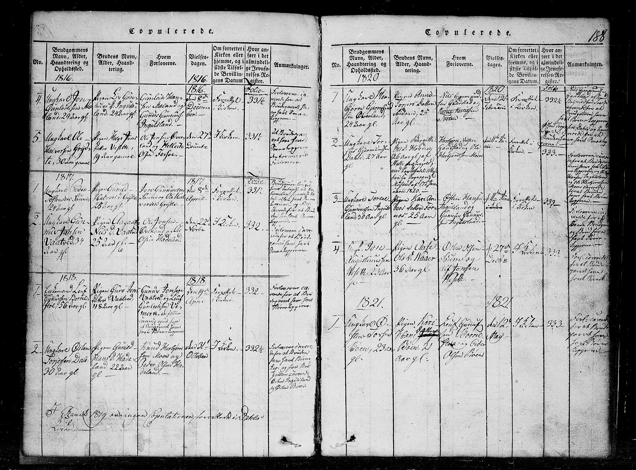 SAKO, Tinn kirkebøker, G/Gc/L0001: Klokkerbok nr. III 1, 1815-1879, s. 188