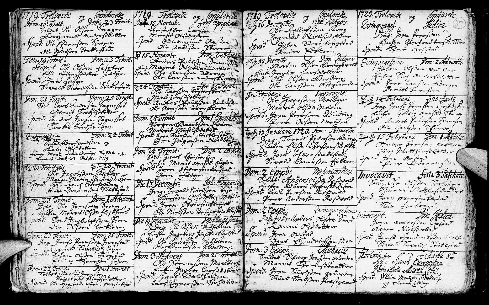 SAT, Ministerialprotokoller, klokkerbøker og fødselsregistre - Nord-Trøndelag, 723/L0230: Ministerialbok nr. 723A01, 1705-1747, s. 37