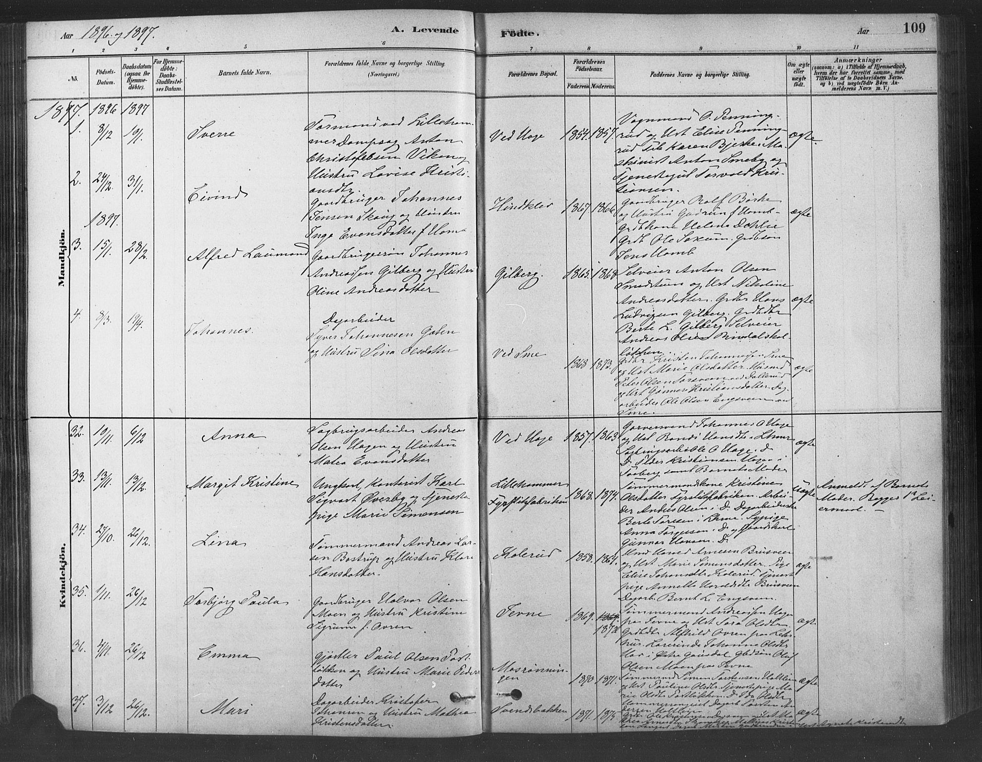 SAH, Fåberg prestekontor, Ministerialbok nr. 9, 1879-1898, s. 109