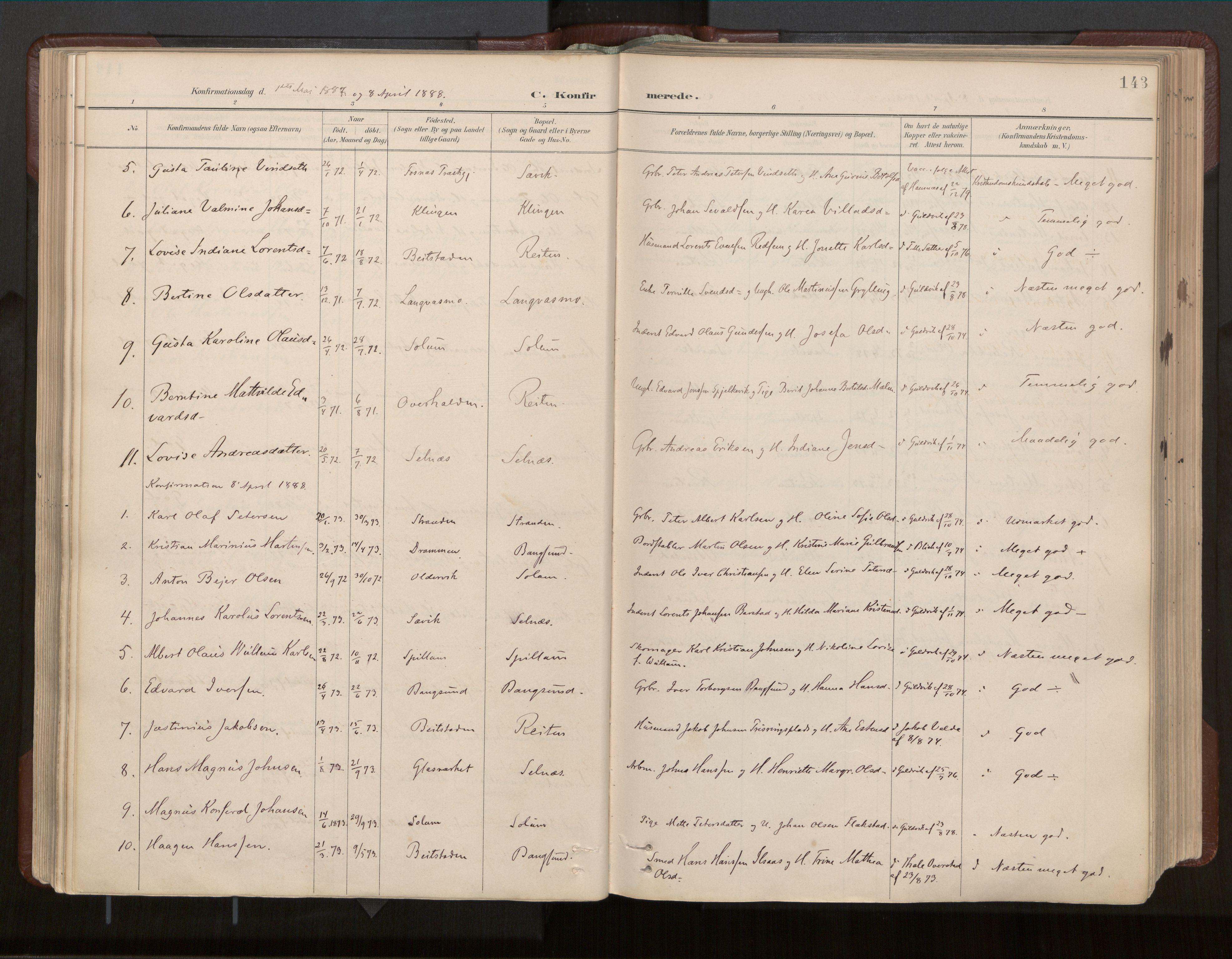 SAT, Ministerialprotokoller, klokkerbøker og fødselsregistre - Nord-Trøndelag, 770/L0589: Ministerialbok nr. 770A03, 1887-1929, s. 143