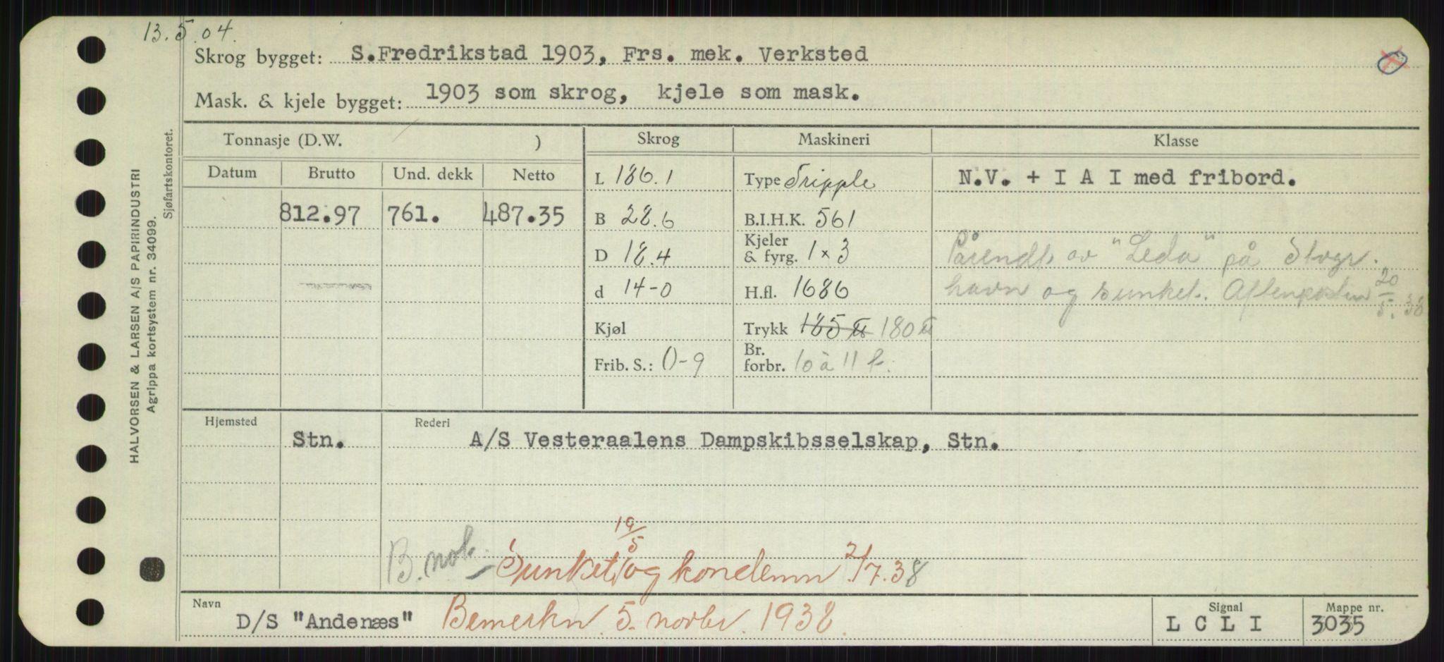 RA, Sjøfartsdirektoratet med forløpere, Skipsmålingen, H/Hd/L0001: Fartøy, A-Anv, s. 541