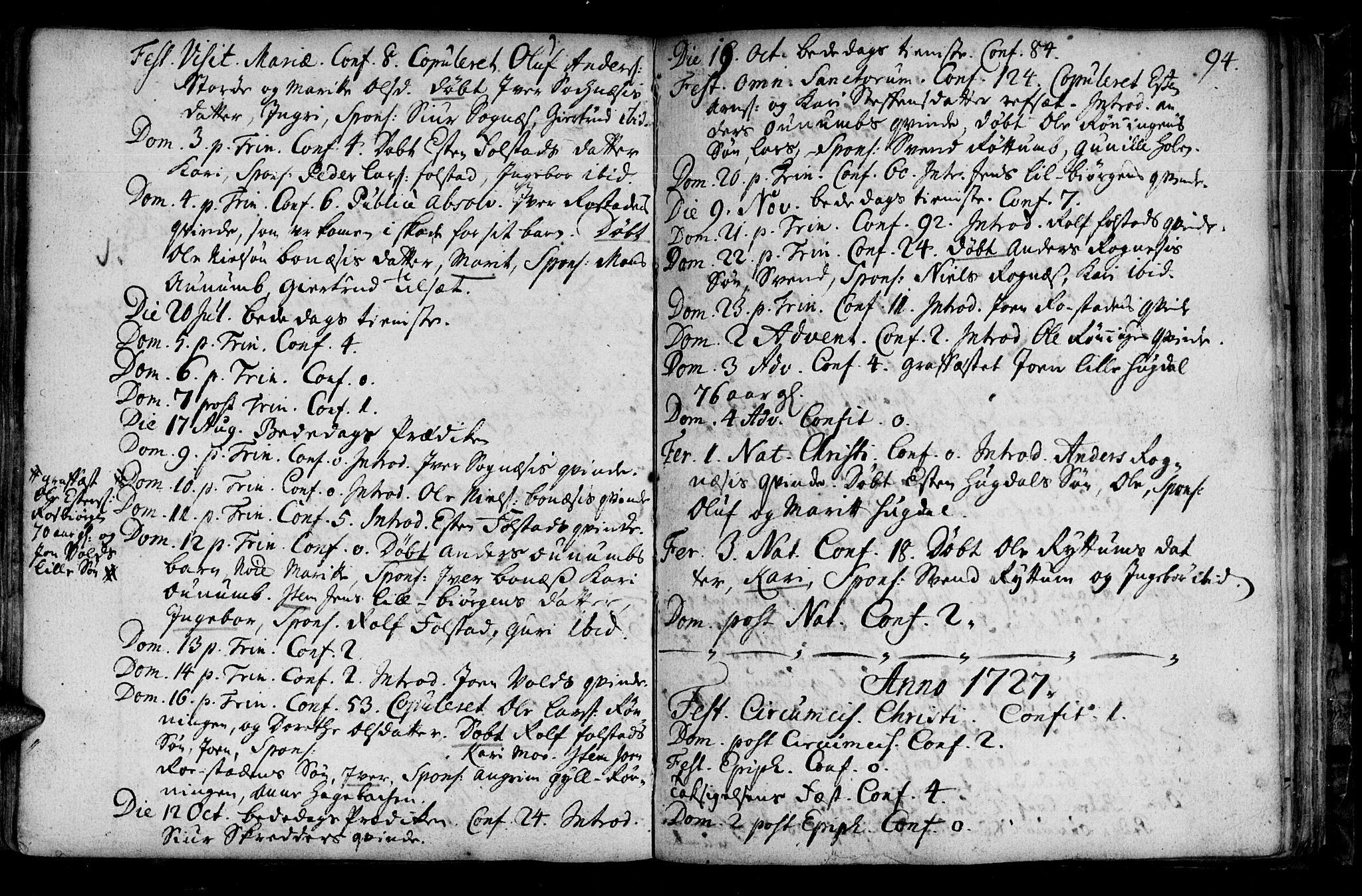 SAT, Ministerialprotokoller, klokkerbøker og fødselsregistre - Sør-Trøndelag, 687/L0990: Ministerialbok nr. 687A01, 1690-1746, s. 94