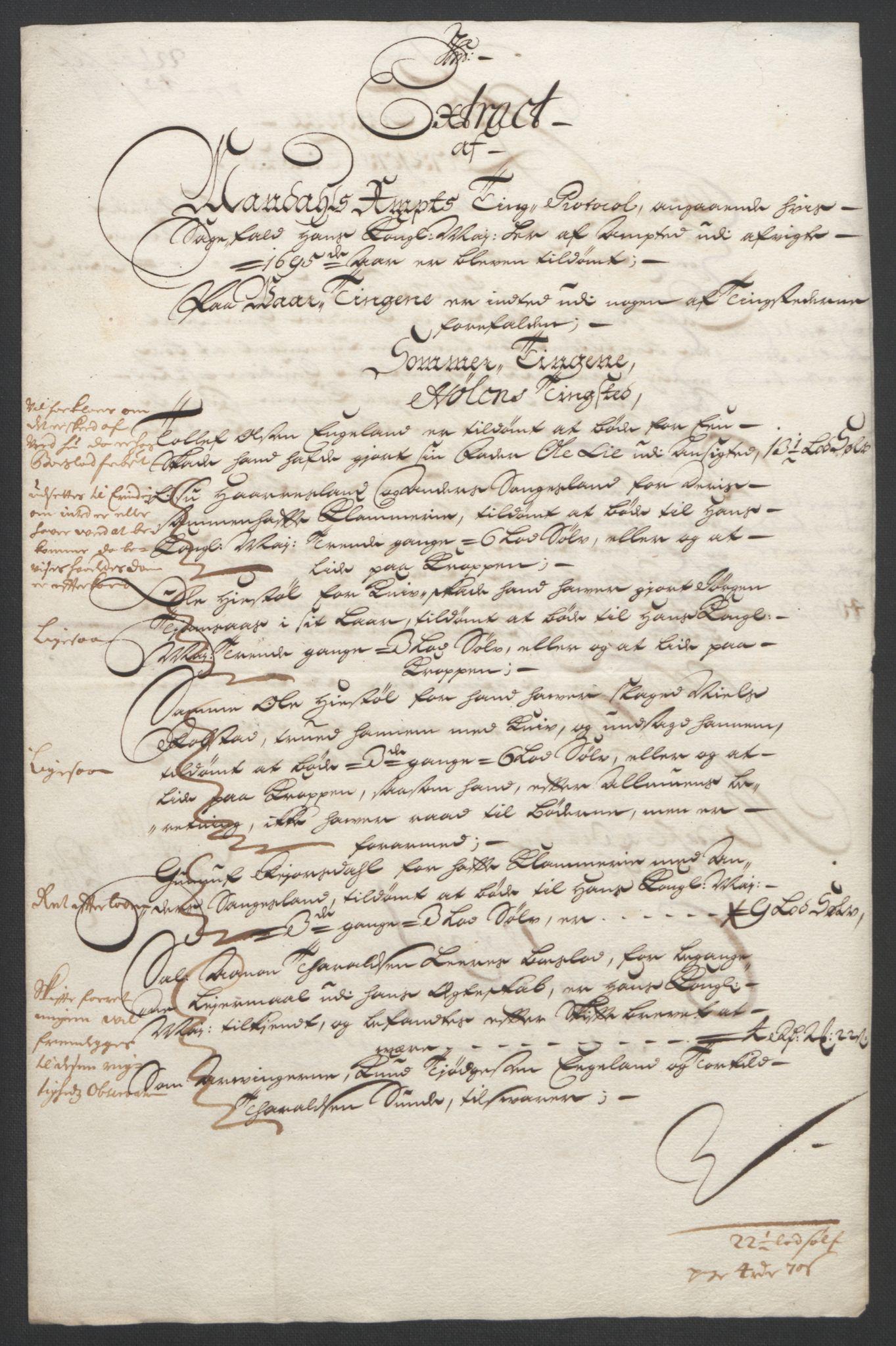 RA, Rentekammeret inntil 1814, Reviderte regnskaper, Fogderegnskap, R43/L2545: Fogderegnskap Lista og Mandal, 1694-1695, s. 251