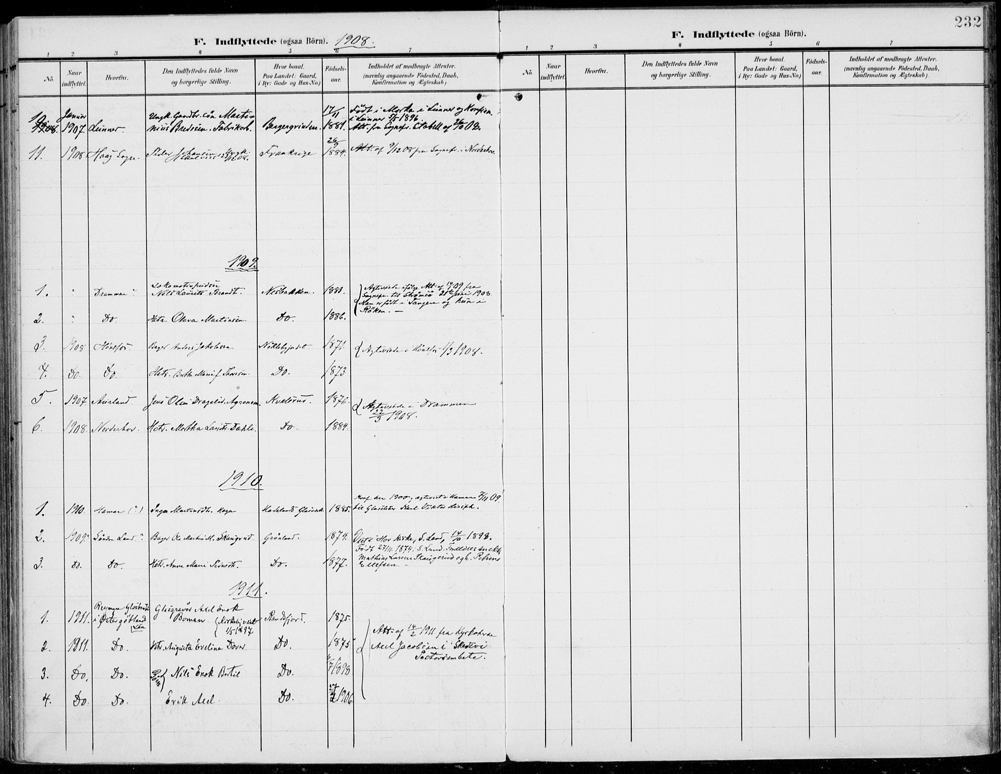SAH, Jevnaker prestekontor, Ministerialbok nr. 11, 1902-1913, s. 232