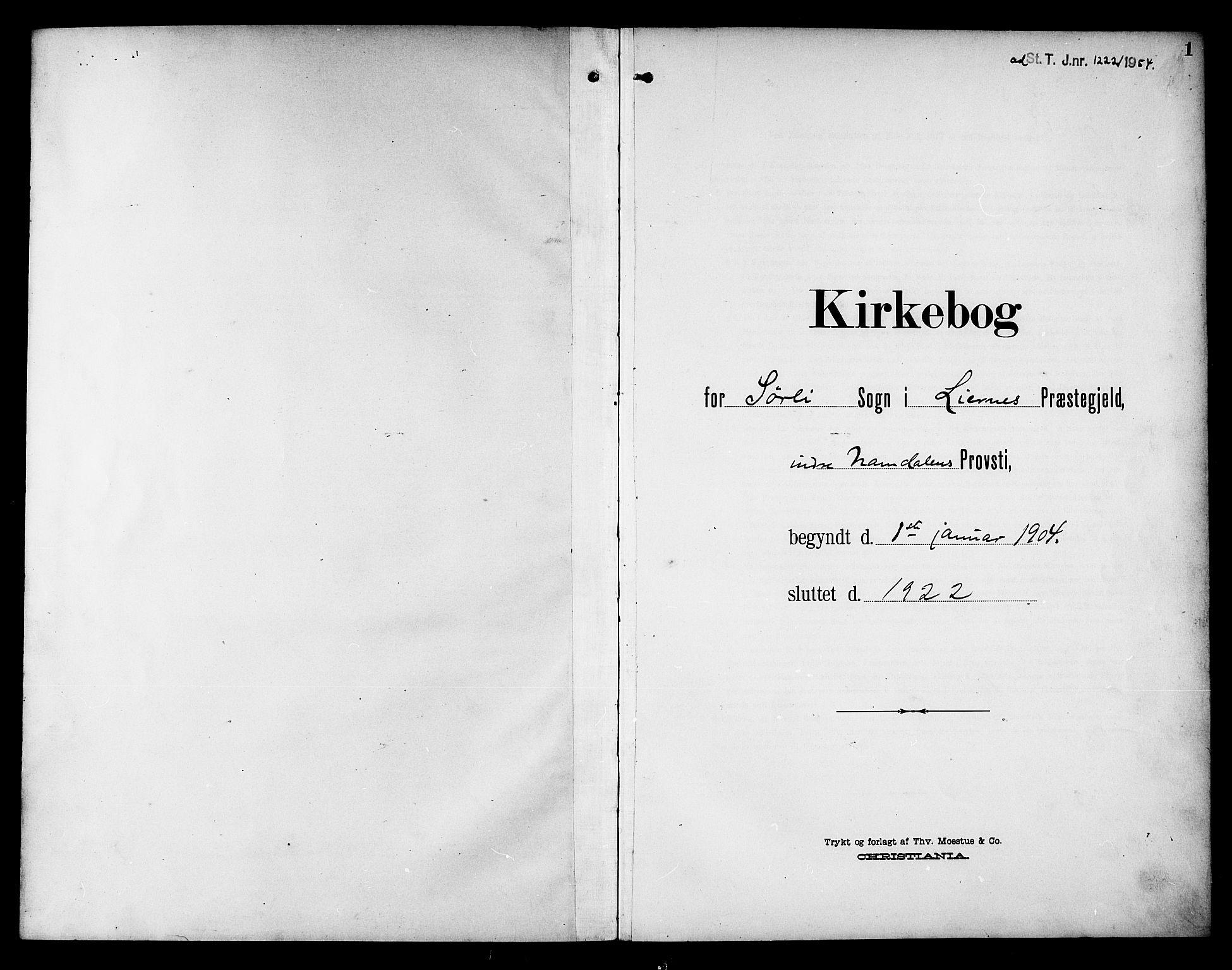 SAT, Ministerialprotokoller, klokkerbøker og fødselsregistre - Nord-Trøndelag, 757/L0506: Klokkerbok nr. 757C01, 1904-1922, s. 1