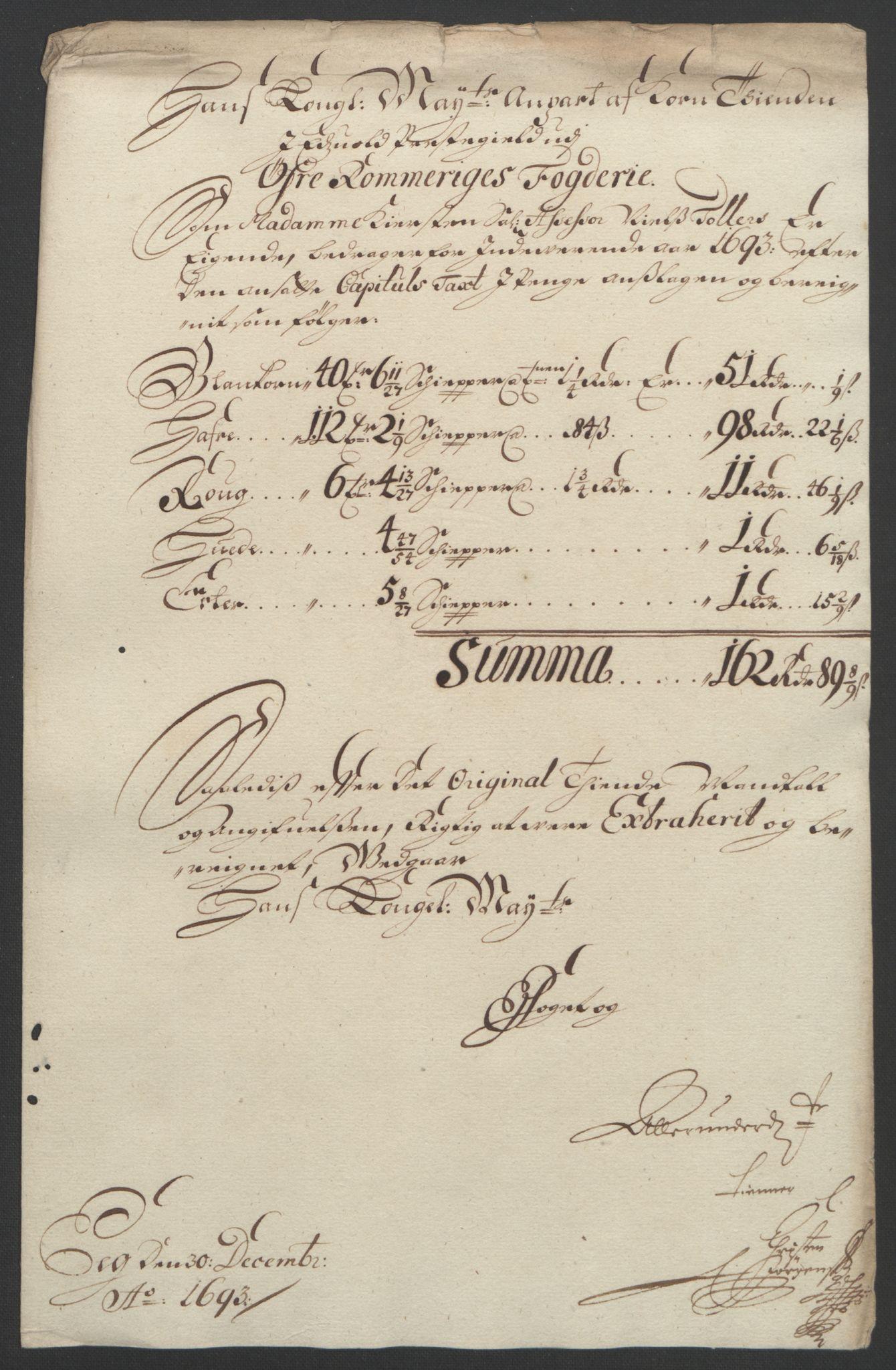 RA, Rentekammeret inntil 1814, Reviderte regnskaper, Fogderegnskap, R12/L0705: Fogderegnskap Øvre Romerike, 1693, s. 68