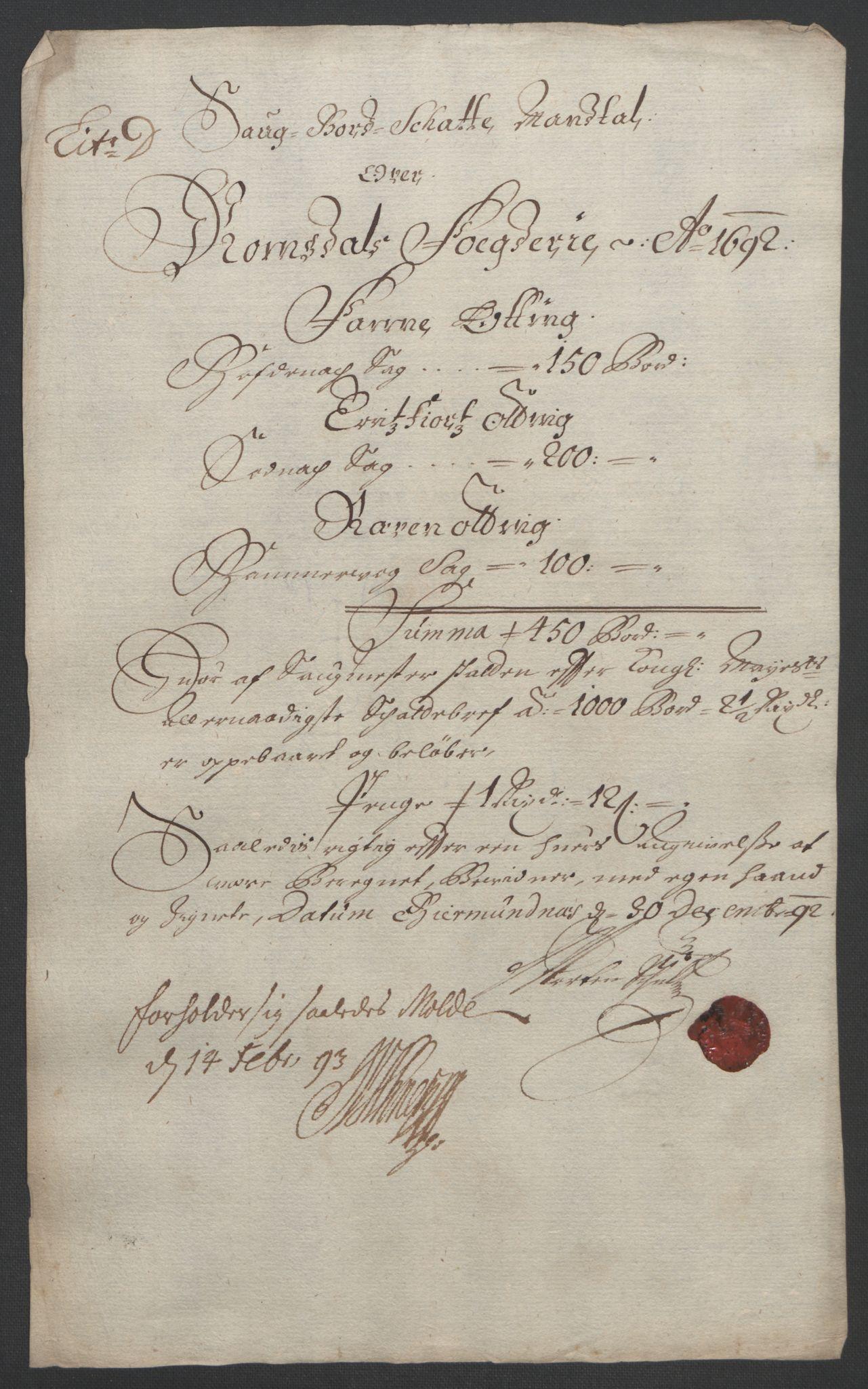 RA, Rentekammeret inntil 1814, Reviderte regnskaper, Fogderegnskap, R55/L3650: Fogderegnskap Romsdal, 1692, s. 76
