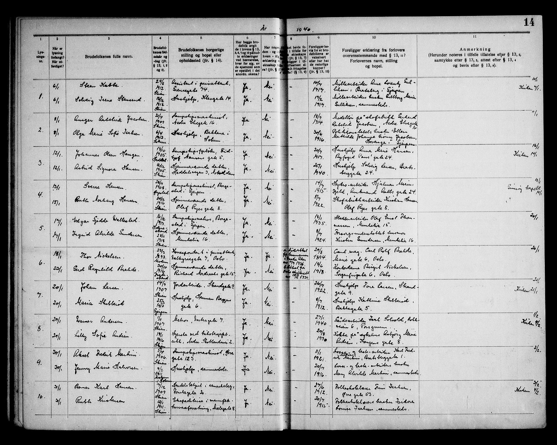 SAKO, Skien kirkebøker, H/Ha/L0002: Lysningsprotokoll nr. 2, 1939-1949, s. 14