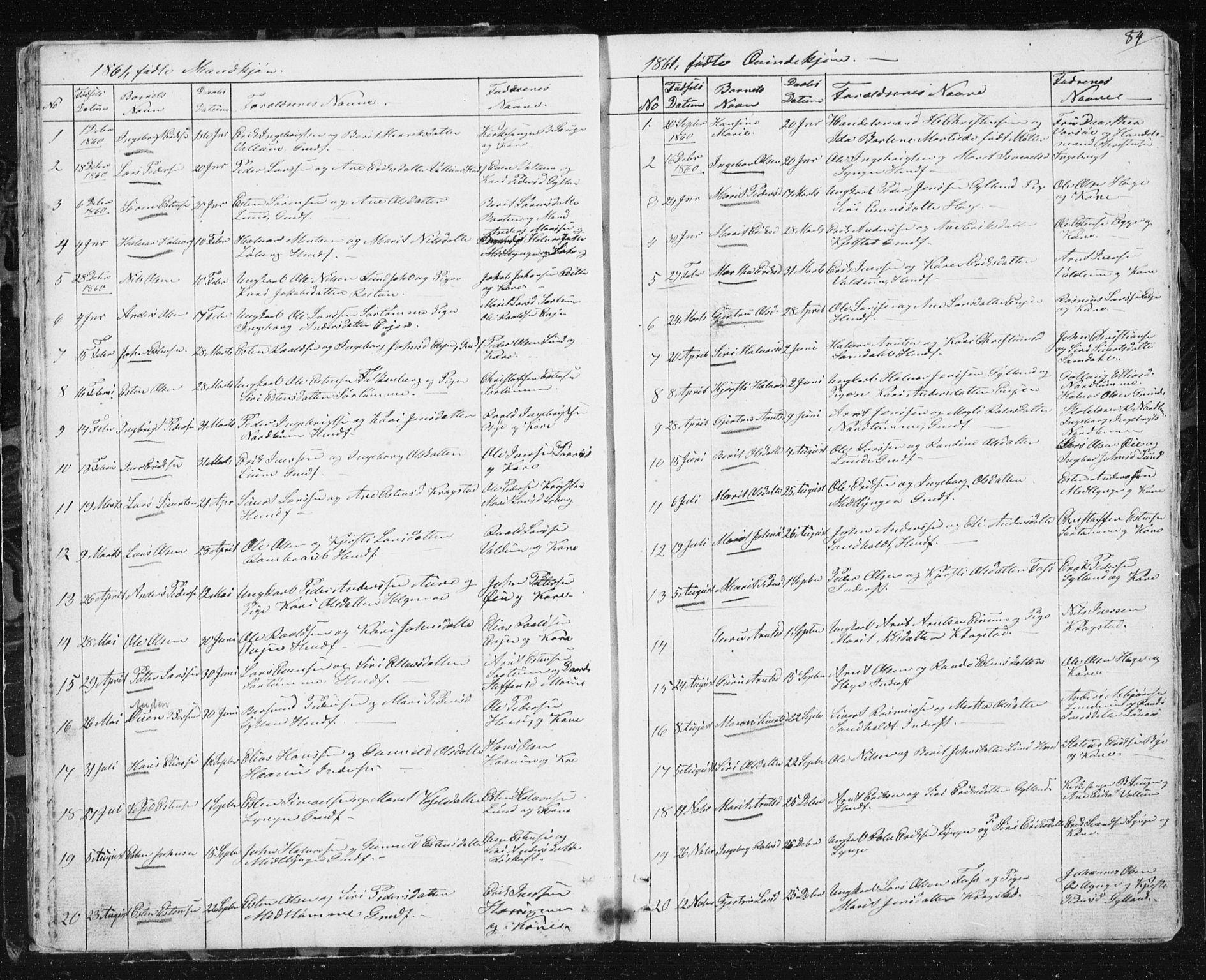 SAT, Ministerialprotokoller, klokkerbøker og fødselsregistre - Sør-Trøndelag, 692/L1110: Klokkerbok nr. 692C05, 1849-1889, s. 84
